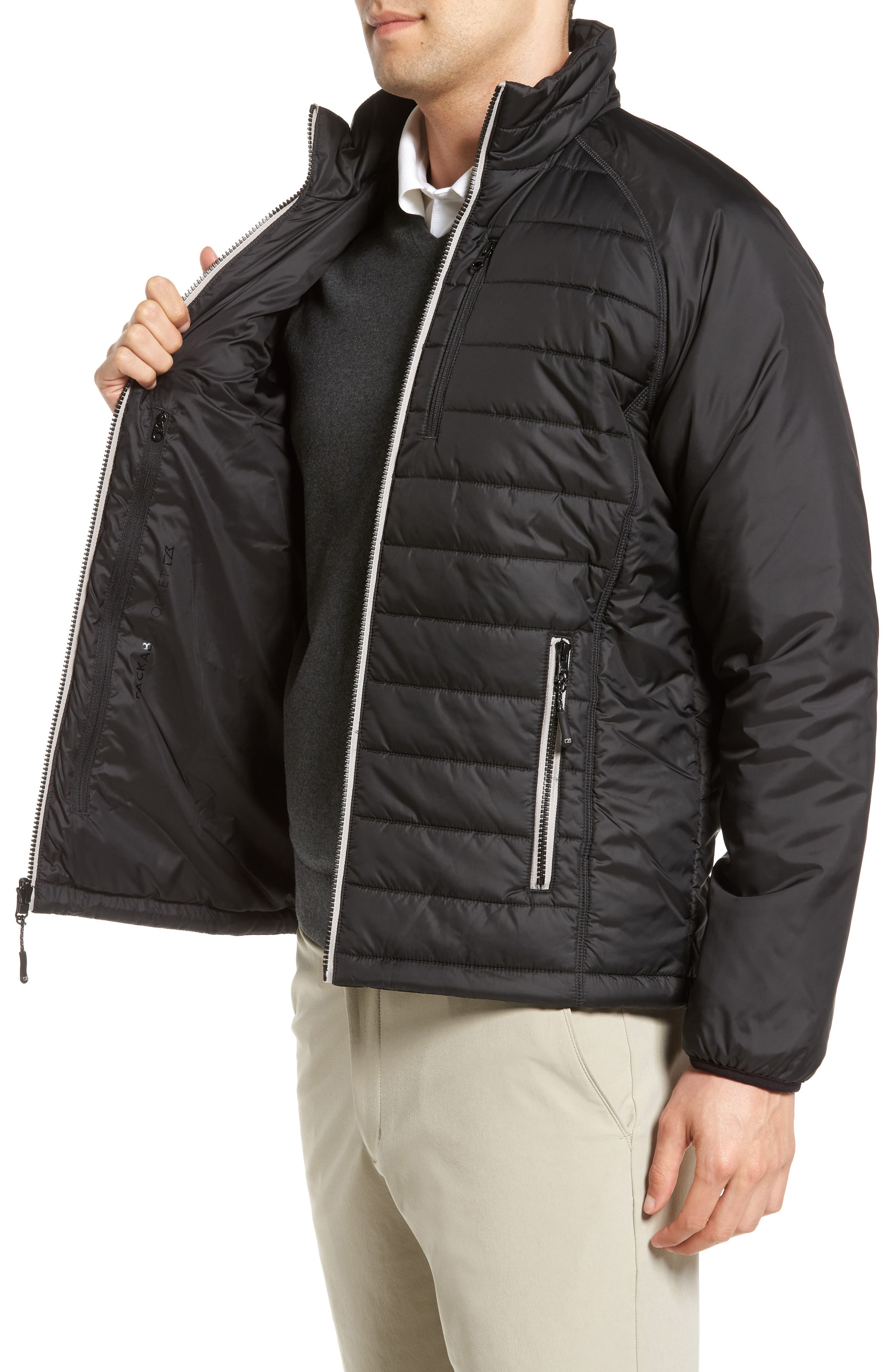 Barlow Pass Quilted Jacket,                             Alternate thumbnail 3, color,                             Black