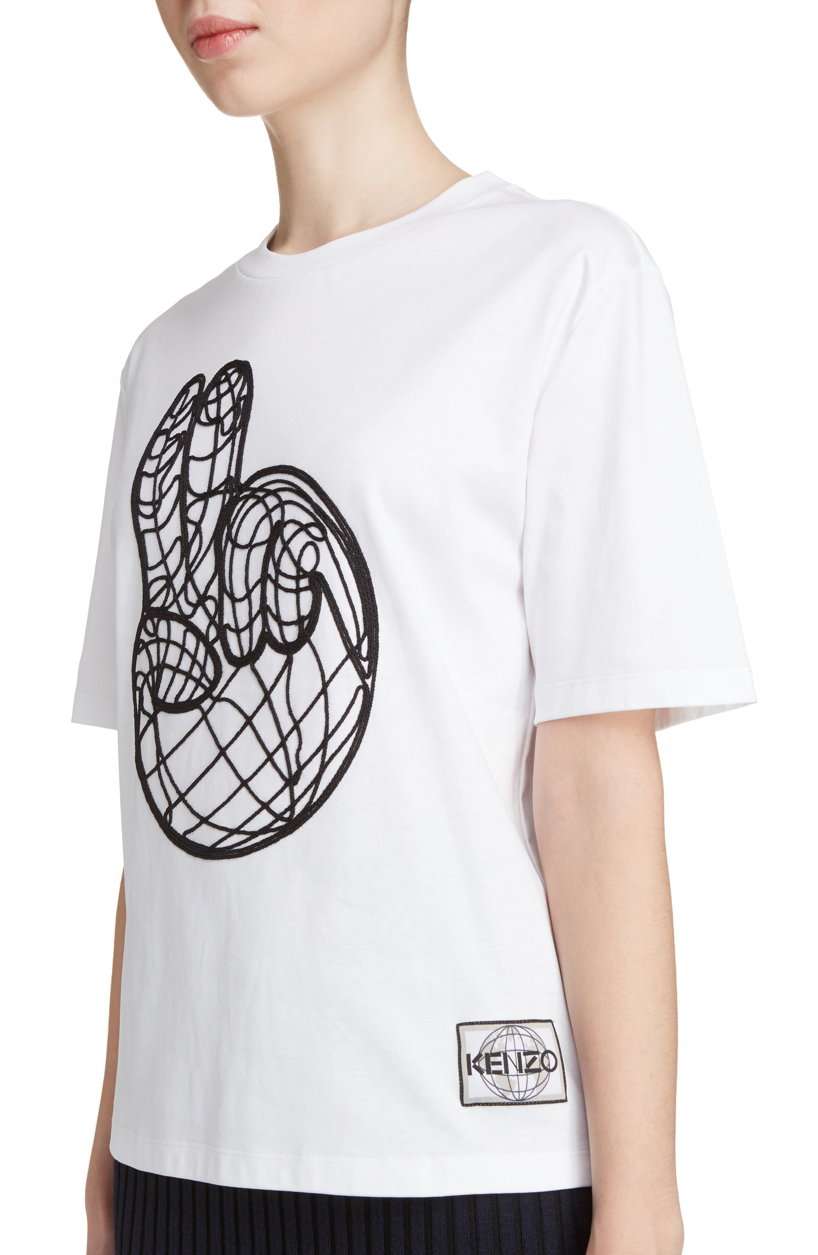 Peace World Embroidered Cotton Tee,                             Alternate thumbnail 4, color,                             White