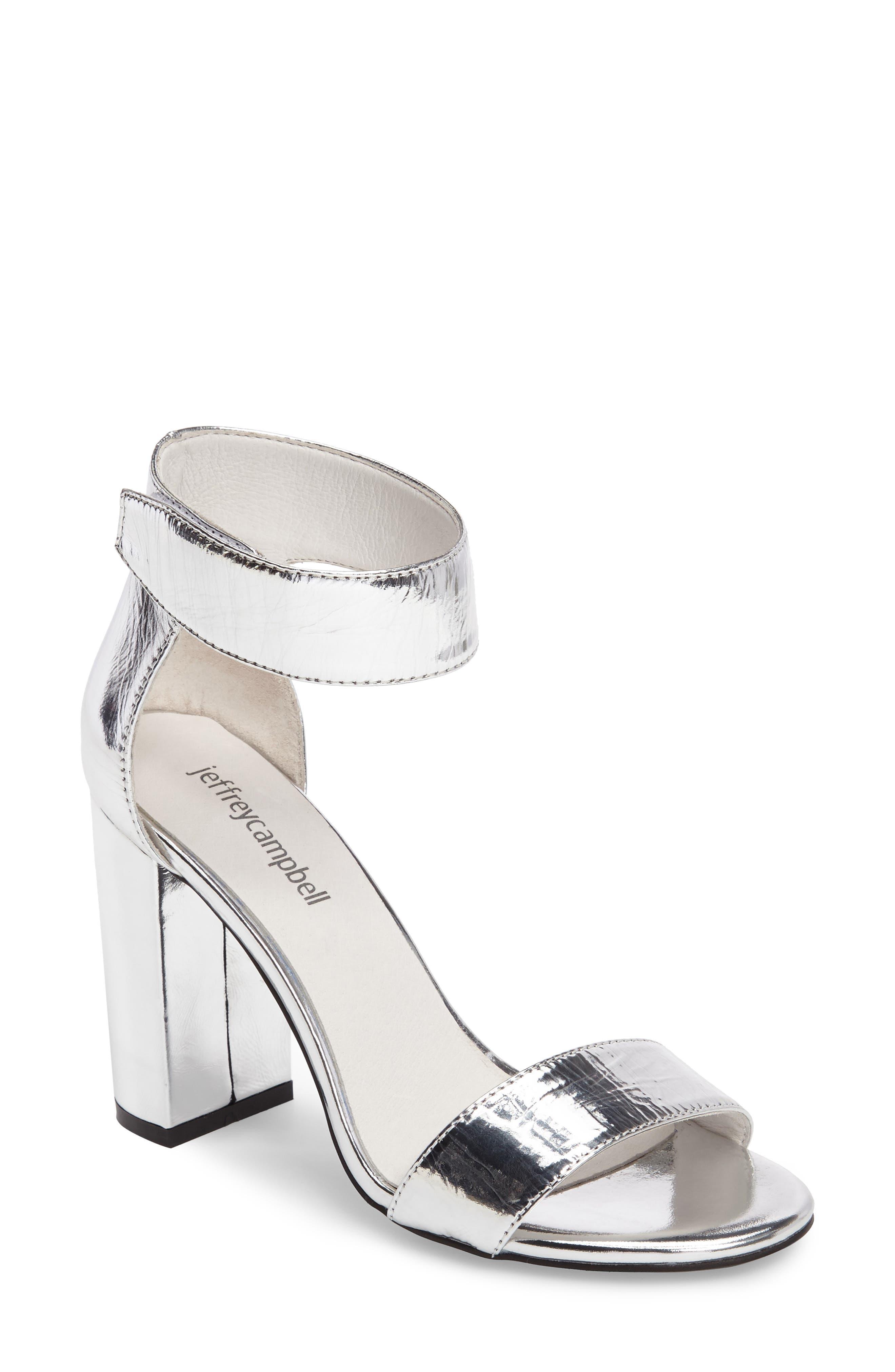 'Lindsay' Ankle Strap Sandal,                             Main thumbnail 1, color,                             Silver