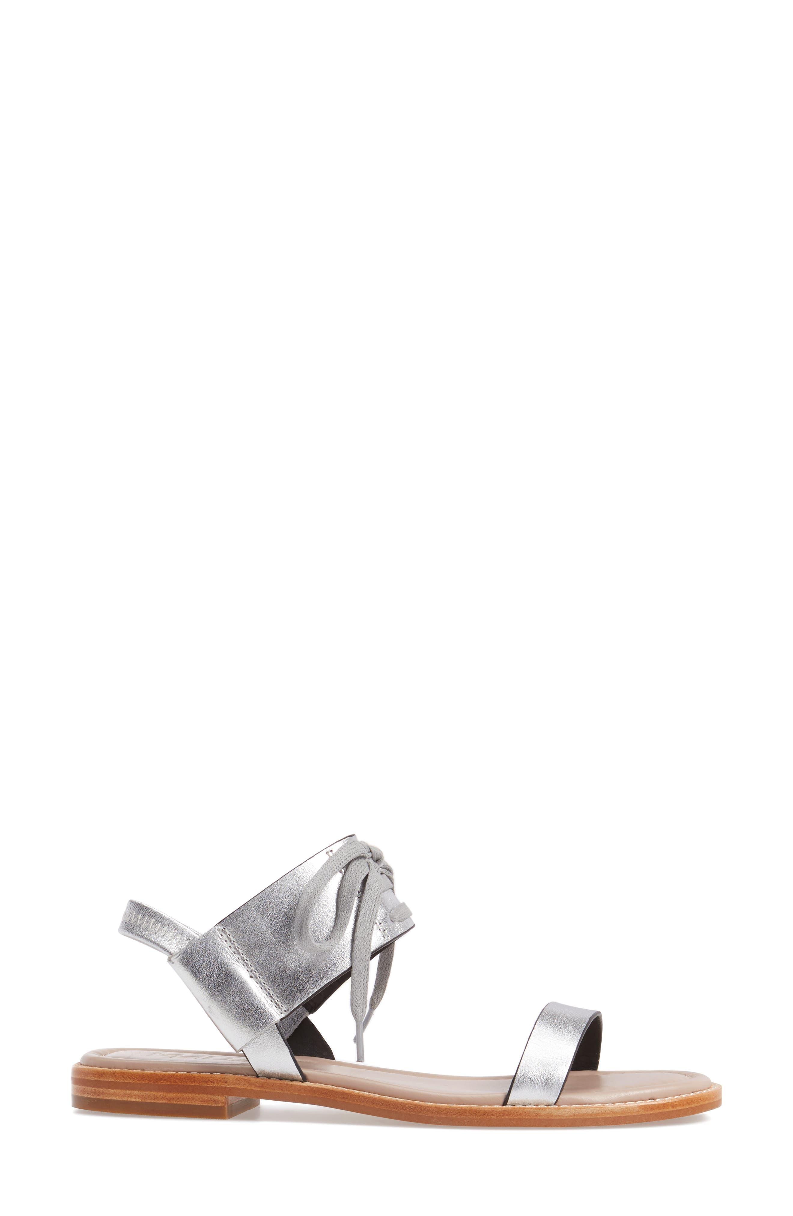 M4D3 Hailey Slingback Sandal,                             Alternate thumbnail 3, color,                             Silver Leather