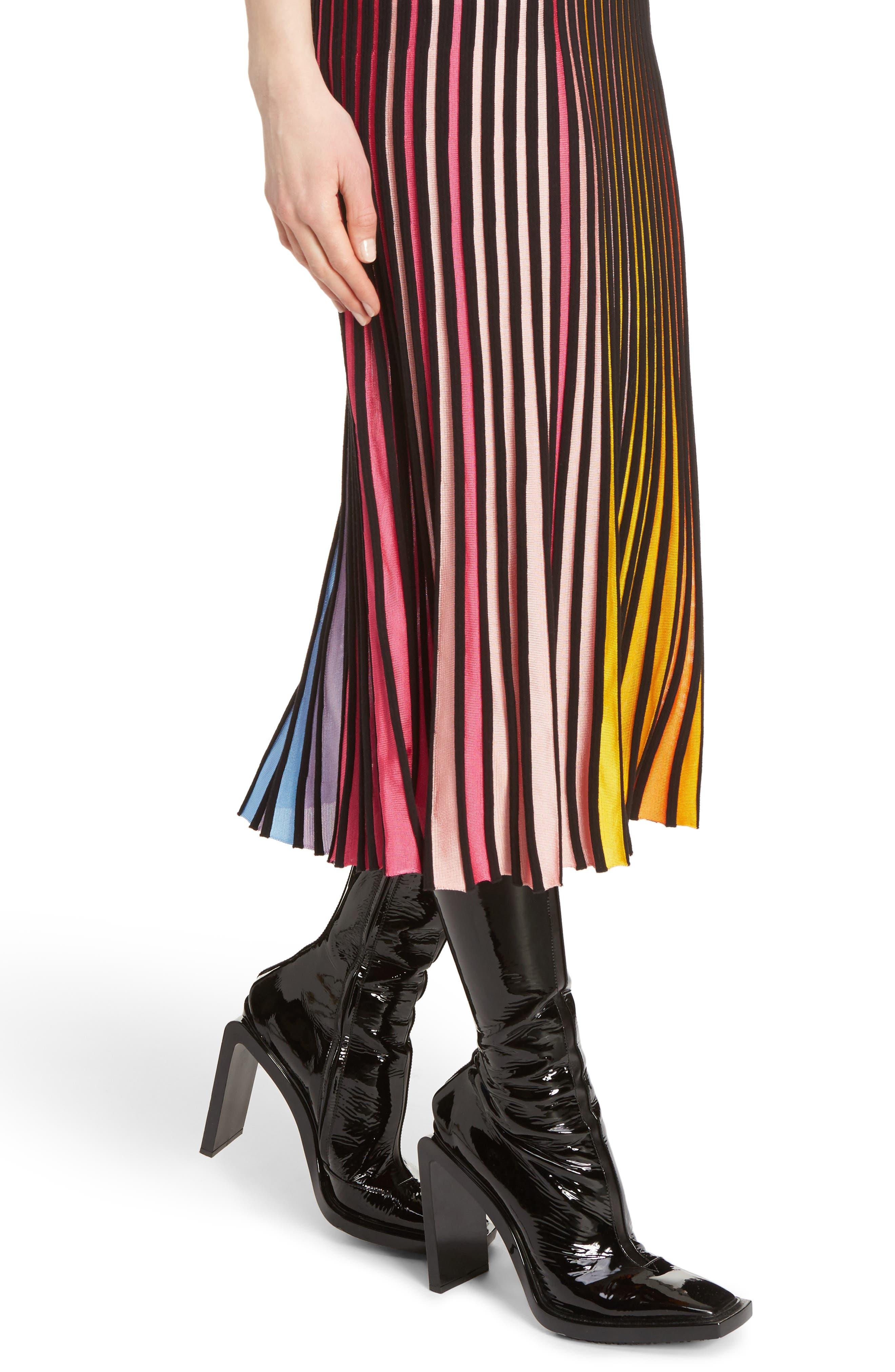 Rib Knit Flare Skirt,                             Alternate thumbnail 5, color,                             Multicolor