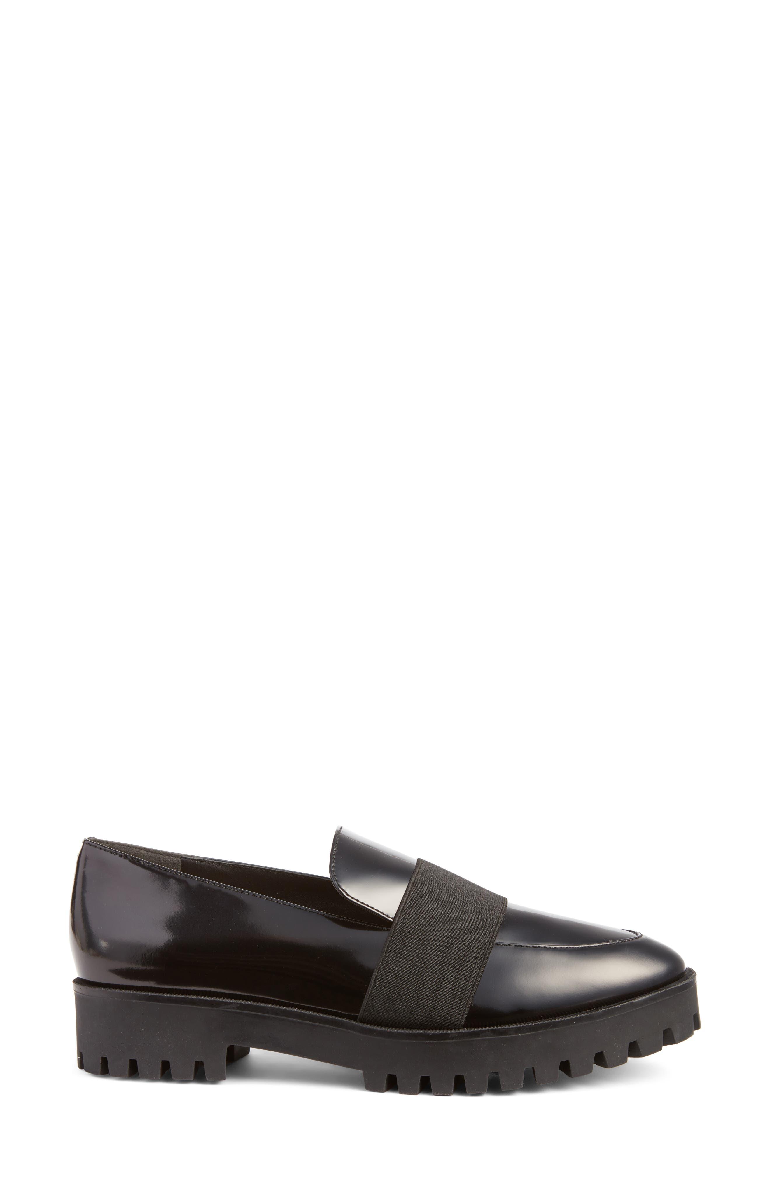 Gallo Platform Loafer,                             Alternate thumbnail 4, color,                             Black Leather