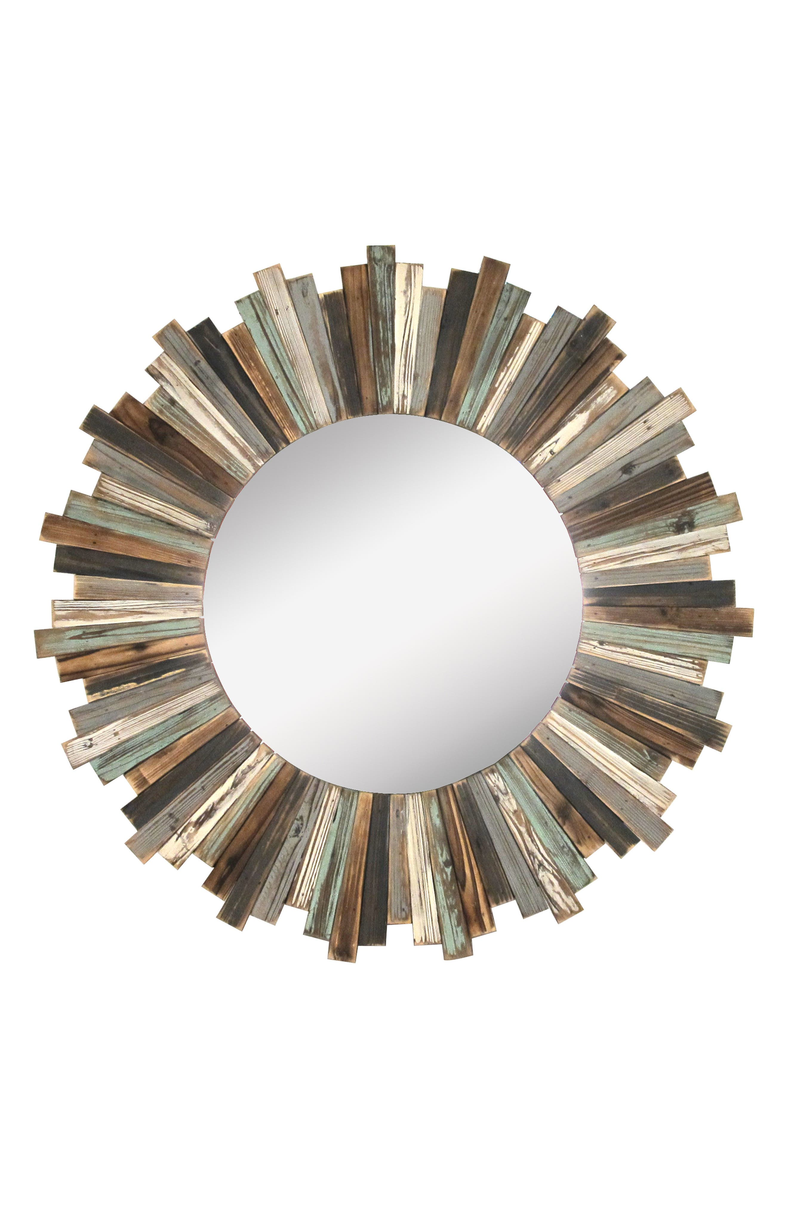 Round Wooden Wall Mirror,                         Main,                         color, Multi
