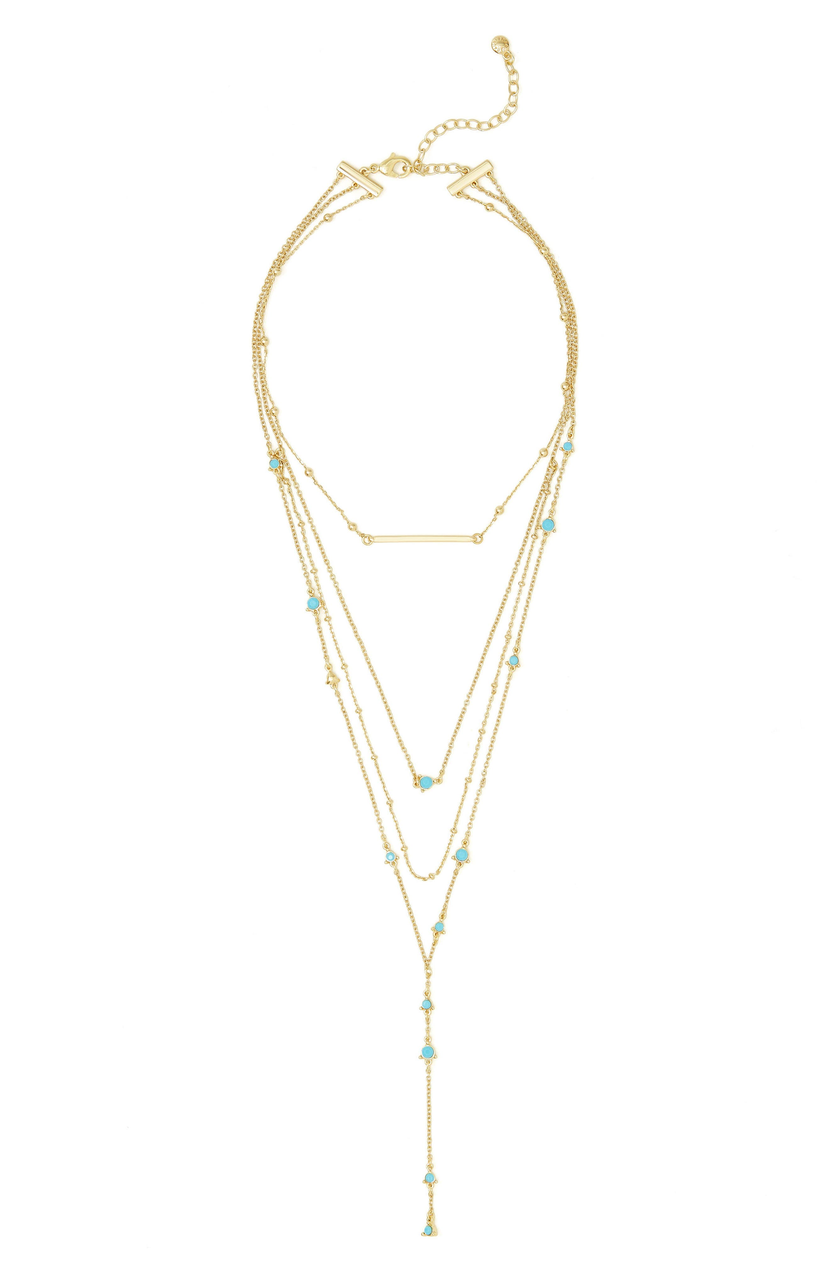 Harlow Layered Lariat Necklace,                             Main thumbnail 1, color,                             Turquoise