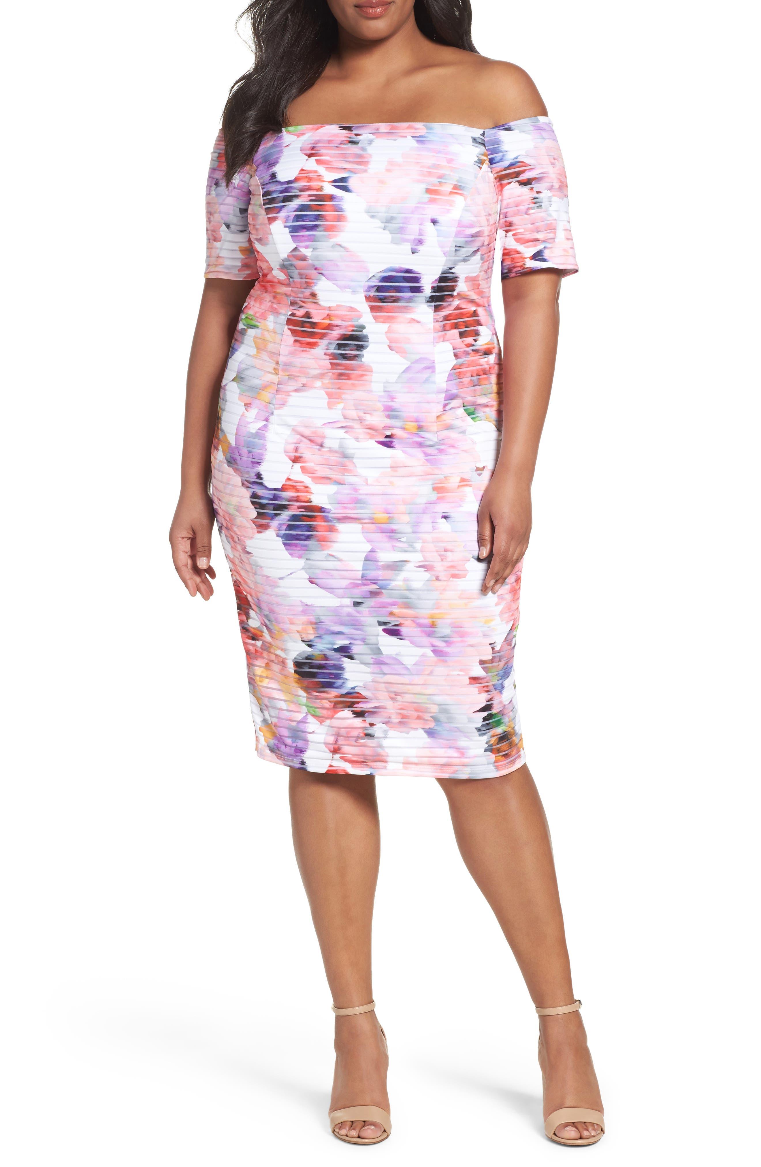 London Times Off the Shoulder Sheath Dress (Plus Size)