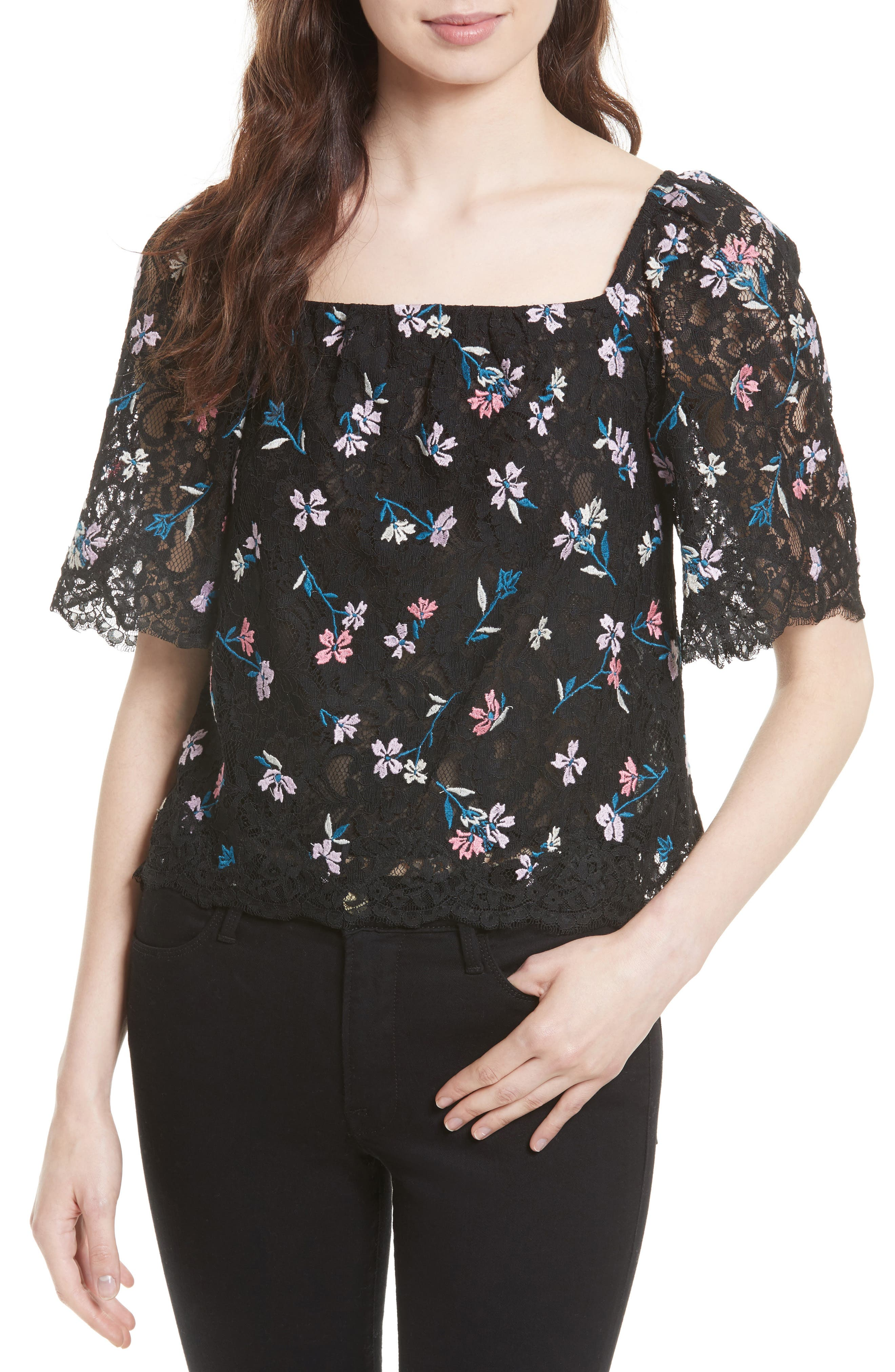 REBECCA TAYLOR Layla Embroidered Lace Top