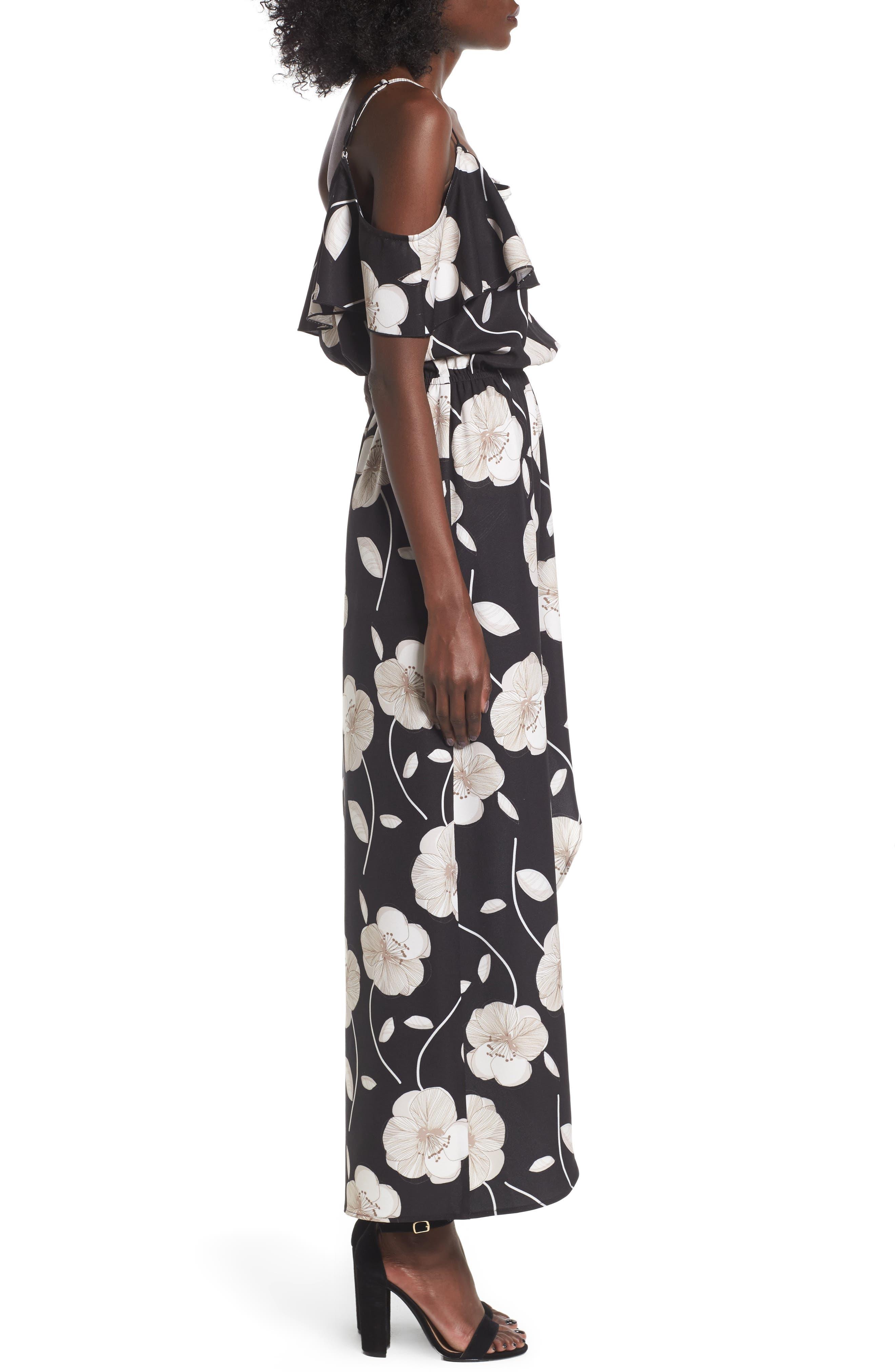 Cold Shoulder Asymmetrical Maxi Dress,                             Alternate thumbnail 3, color,                             Black