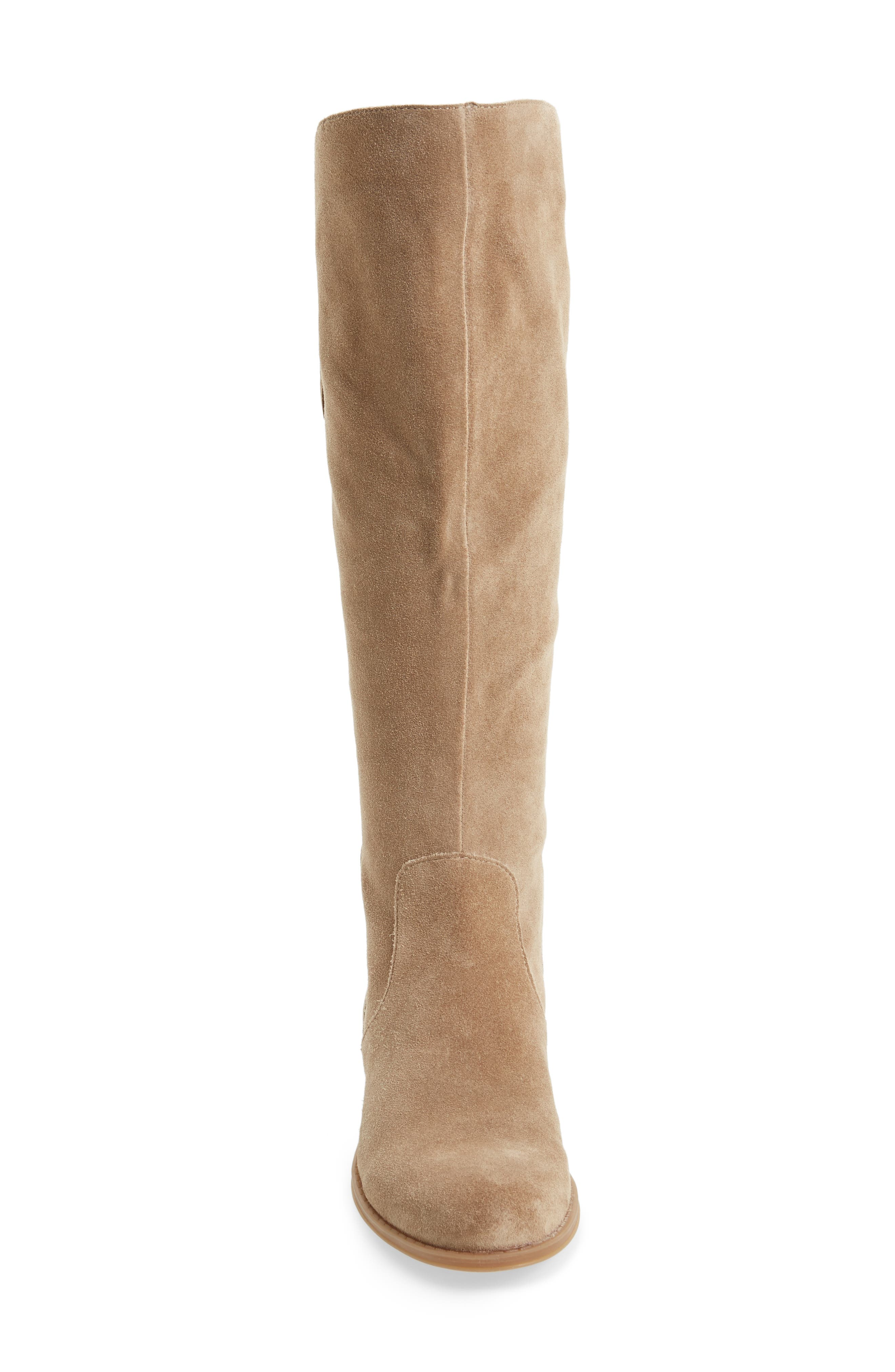Jinnie Tall Boot,                             Alternate thumbnail 4, color,                             Oatmeal Suede