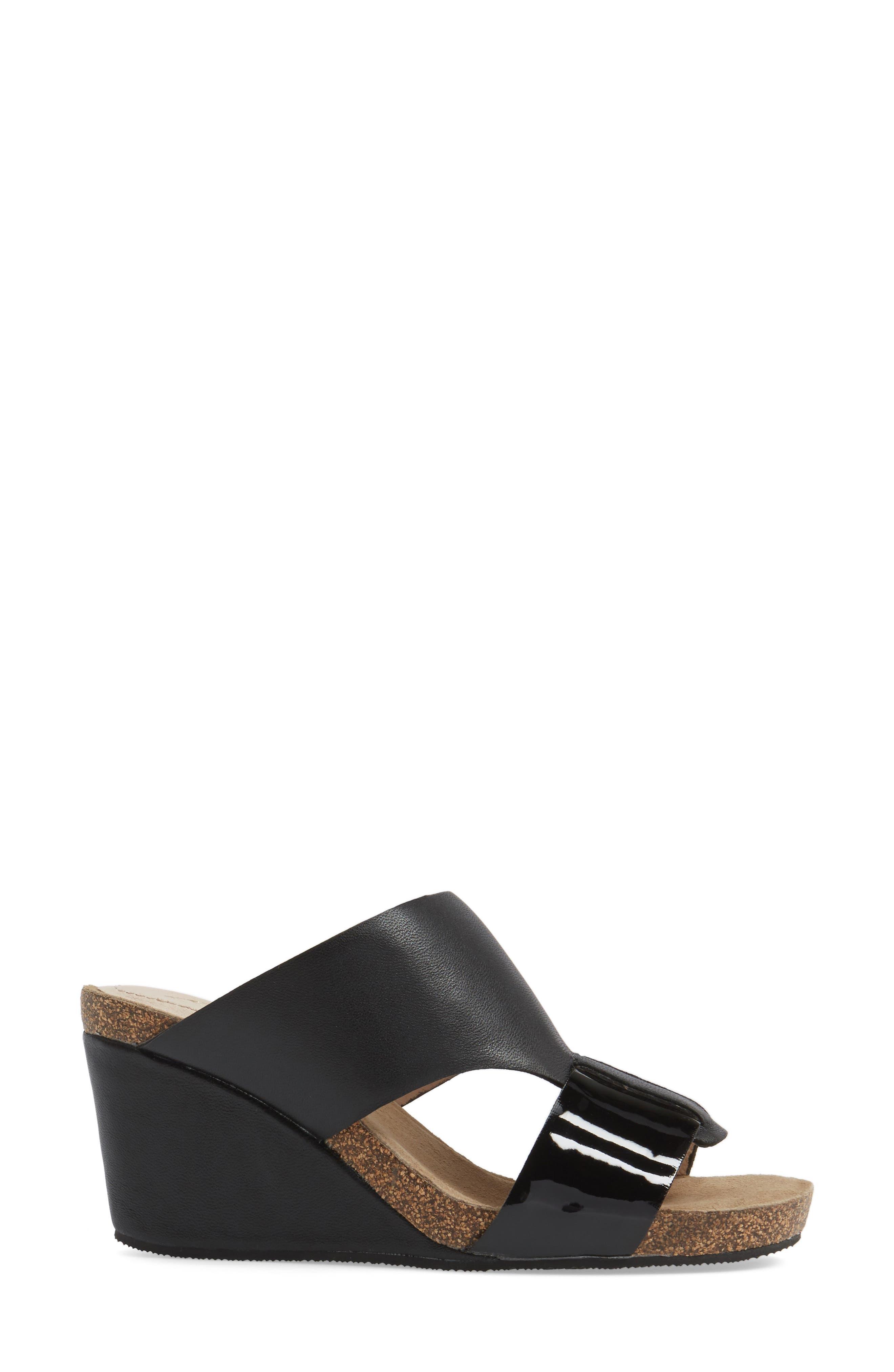Berta Wedge Sandal,                             Alternate thumbnail 3, color,                             Black Leather