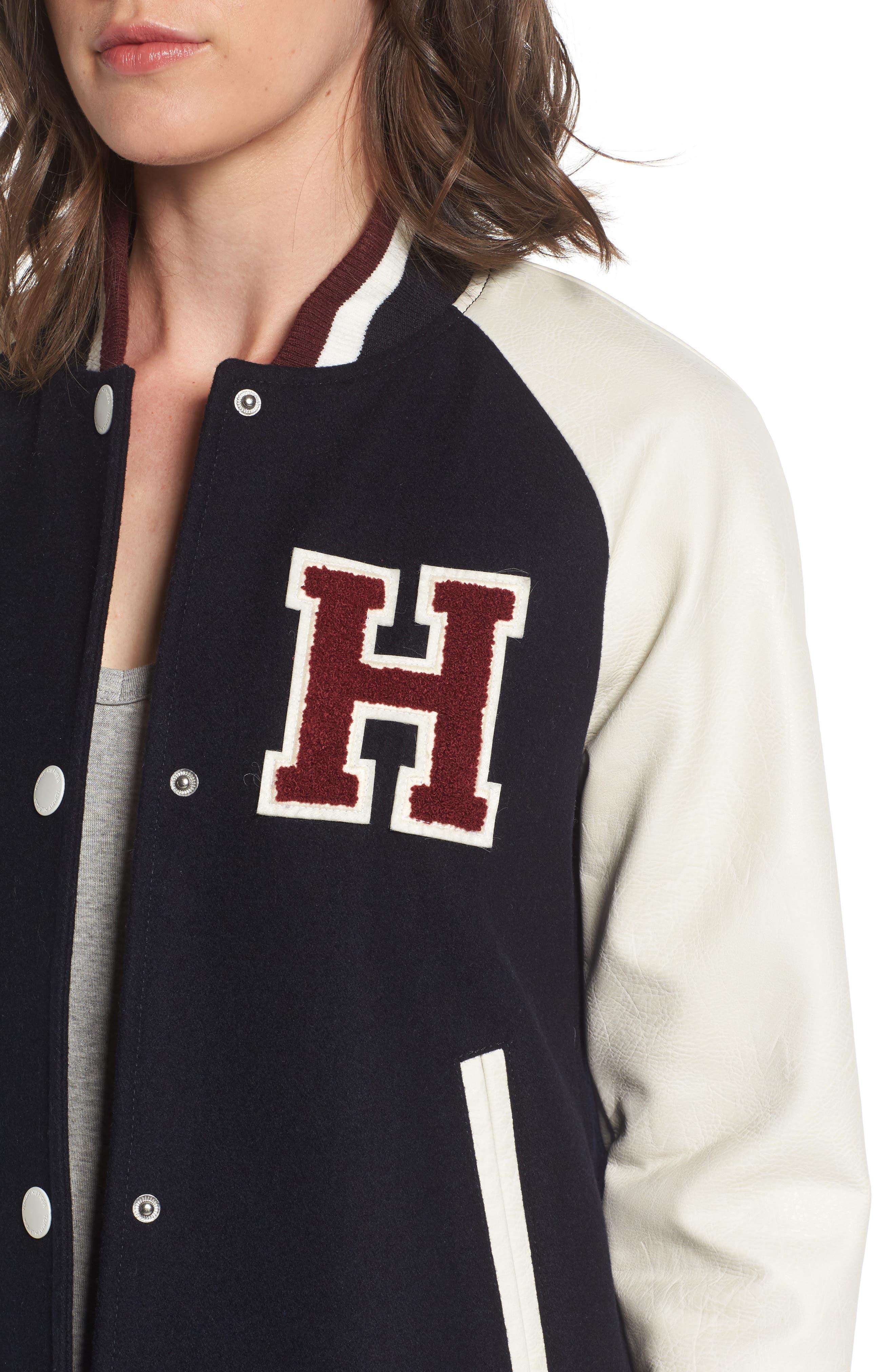 Alternate Image 4  - Tommy Hilfiger Mixed Media Varsity Jacket