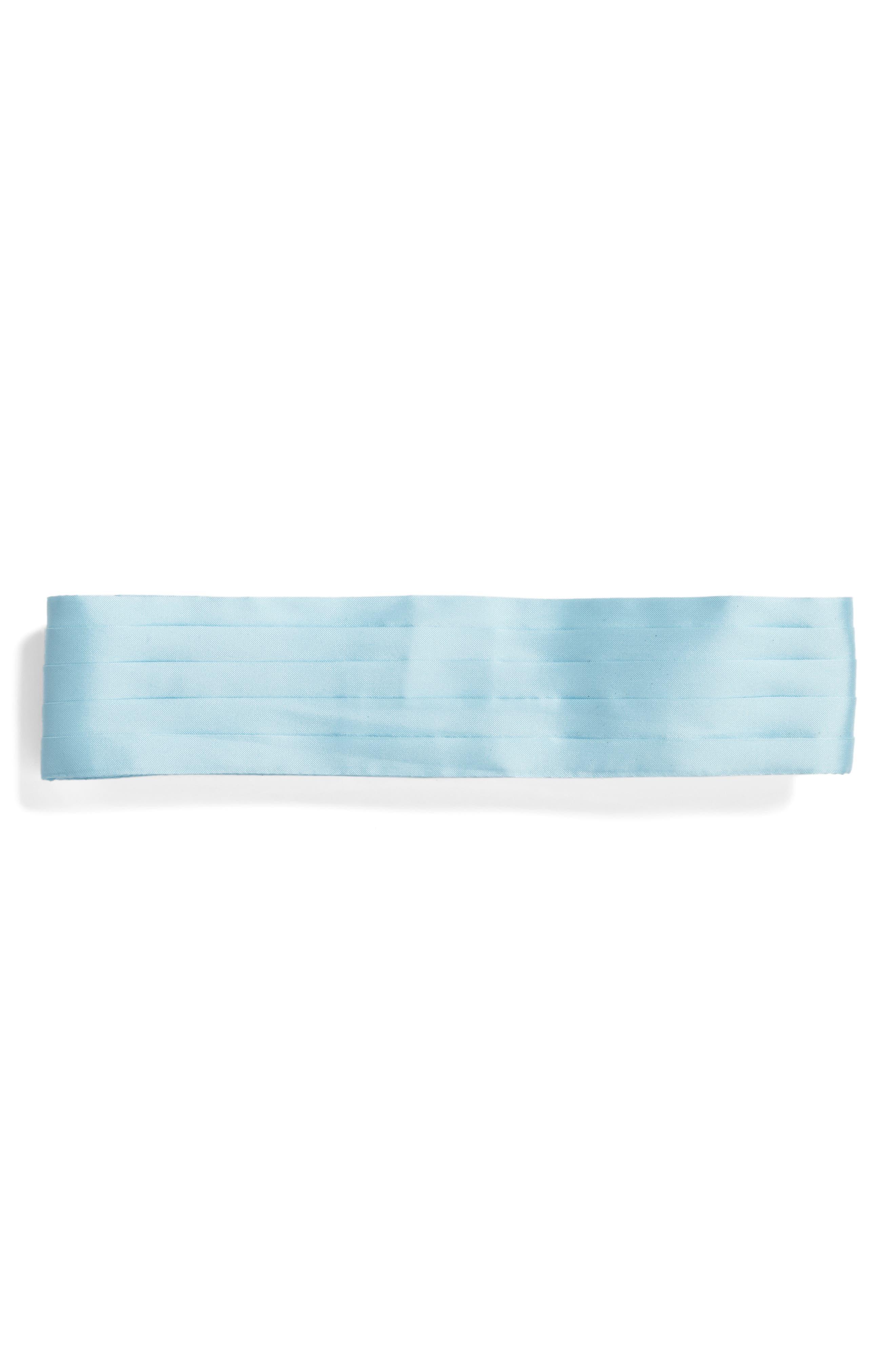 Sebastian Cummerbund Pintuck Belt,                             Main thumbnail 1, color,                             Light Blue