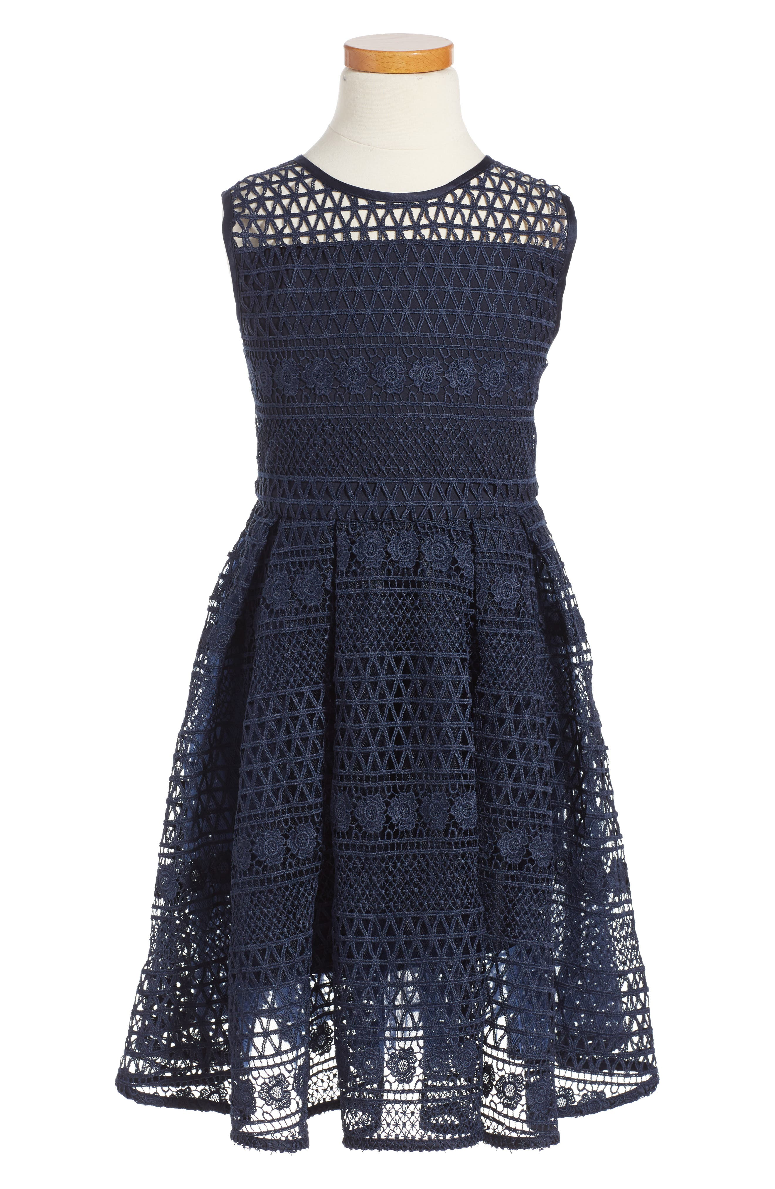 Linear Lace Dress,                         Main,                         color, Navy