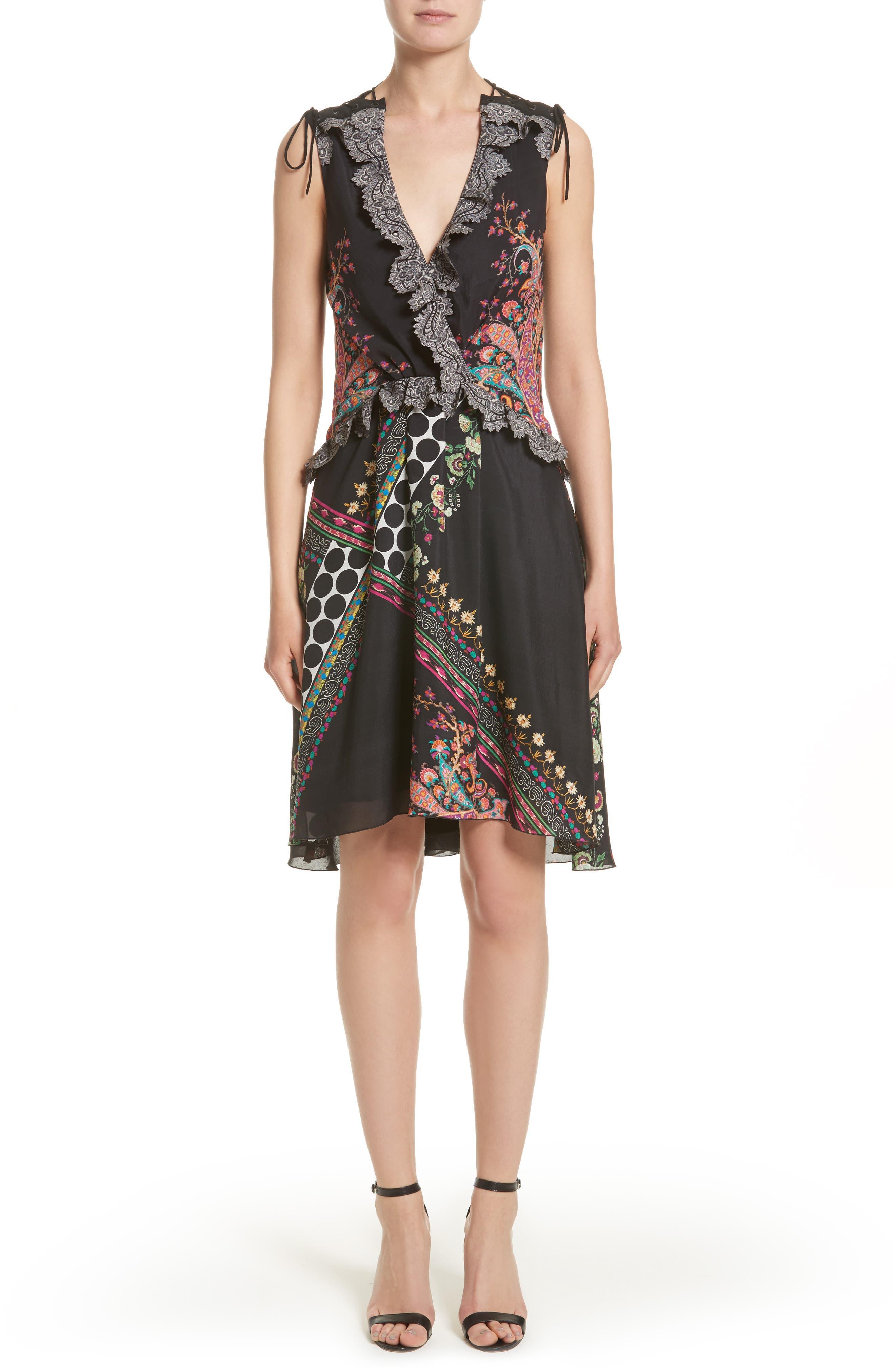 Etro Paisley & Polka Dot Silk Flutter Dress