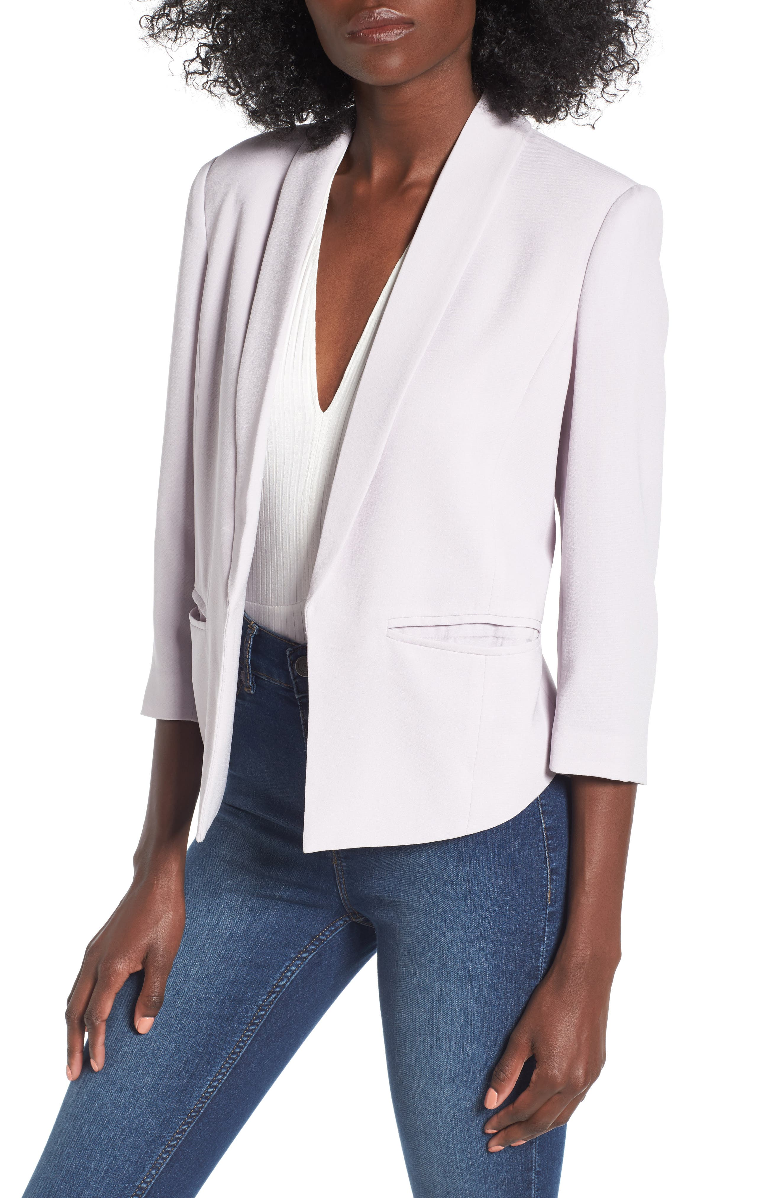 'Curve' Open Front Shawl Collar Blazer,                         Main,                         color, Pale Lilac