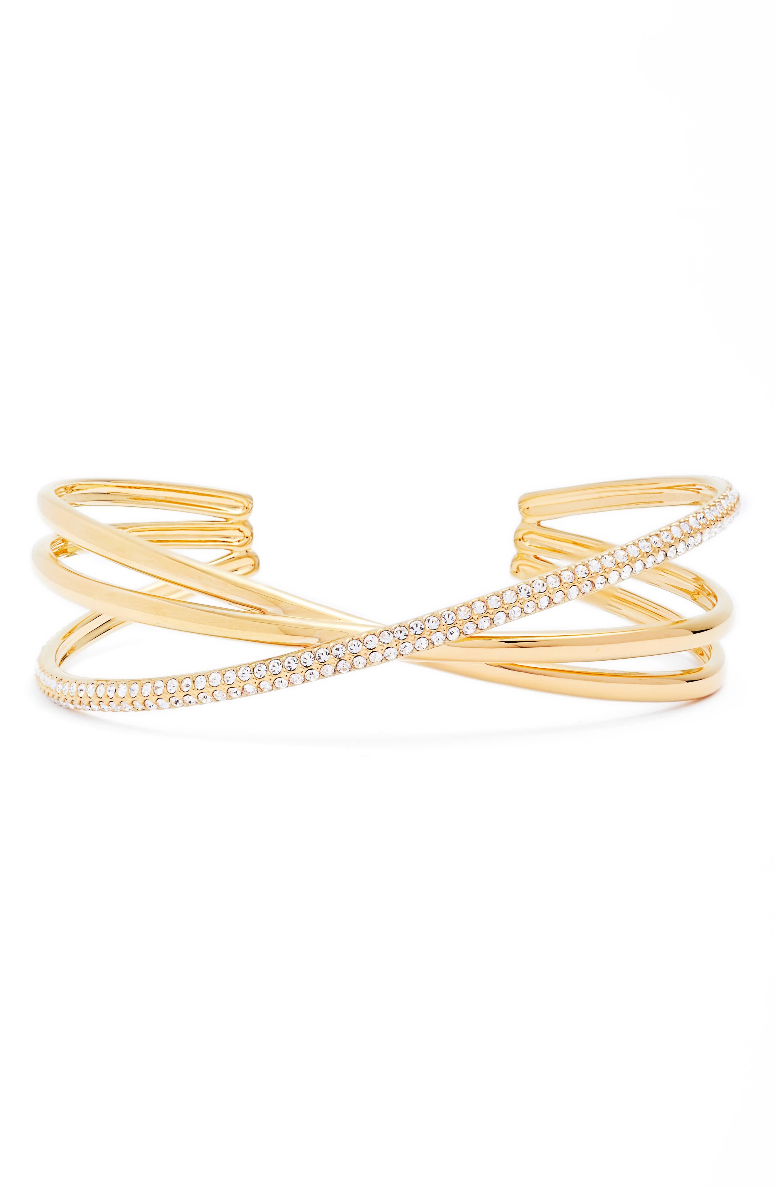 Trinity Pavé Crossover Cuff,                             Main thumbnail 1, color,                             Gold