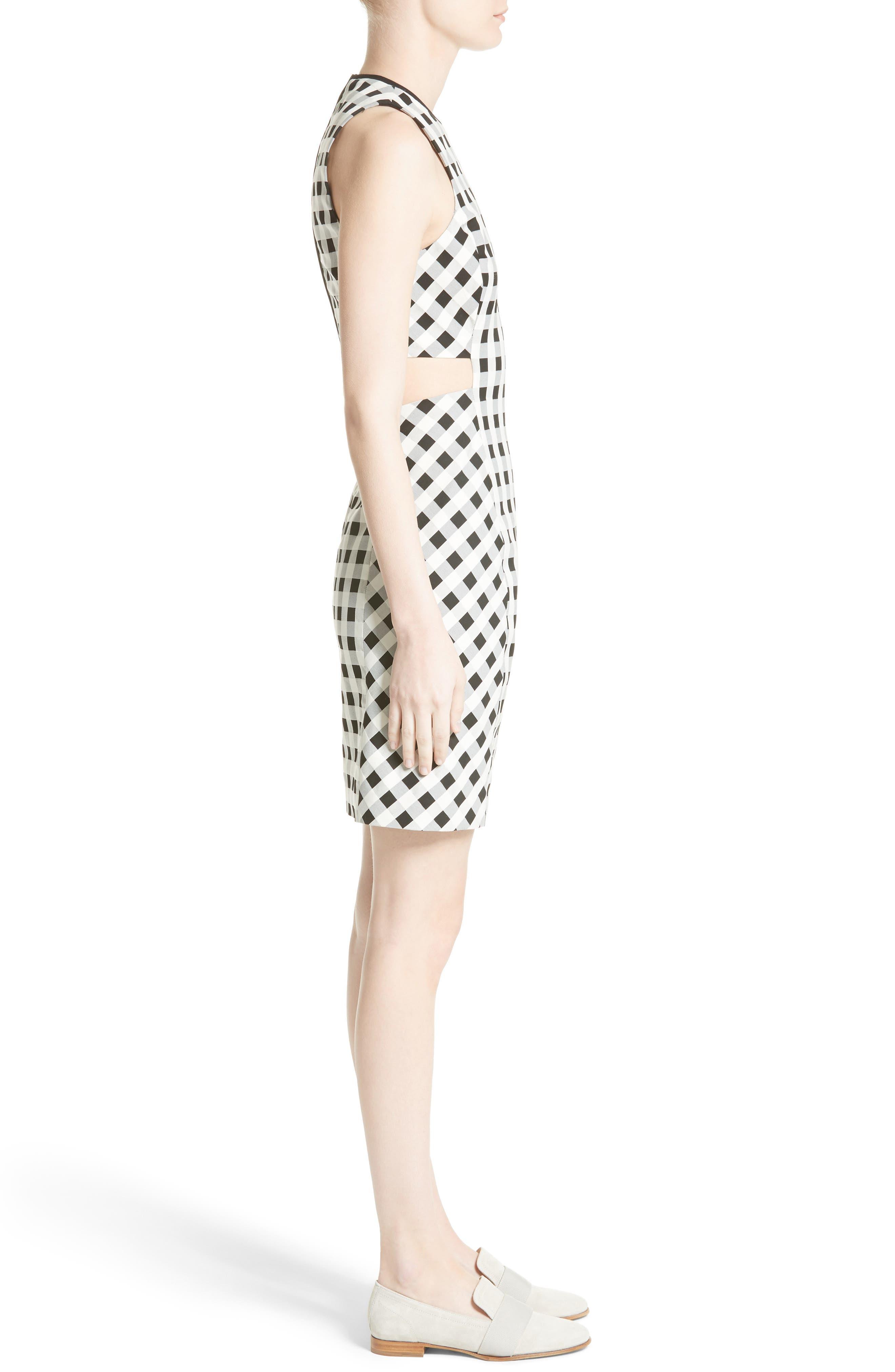 Tahoe Gingham Dress,                             Alternate thumbnail 3, color,                             Black/ White
