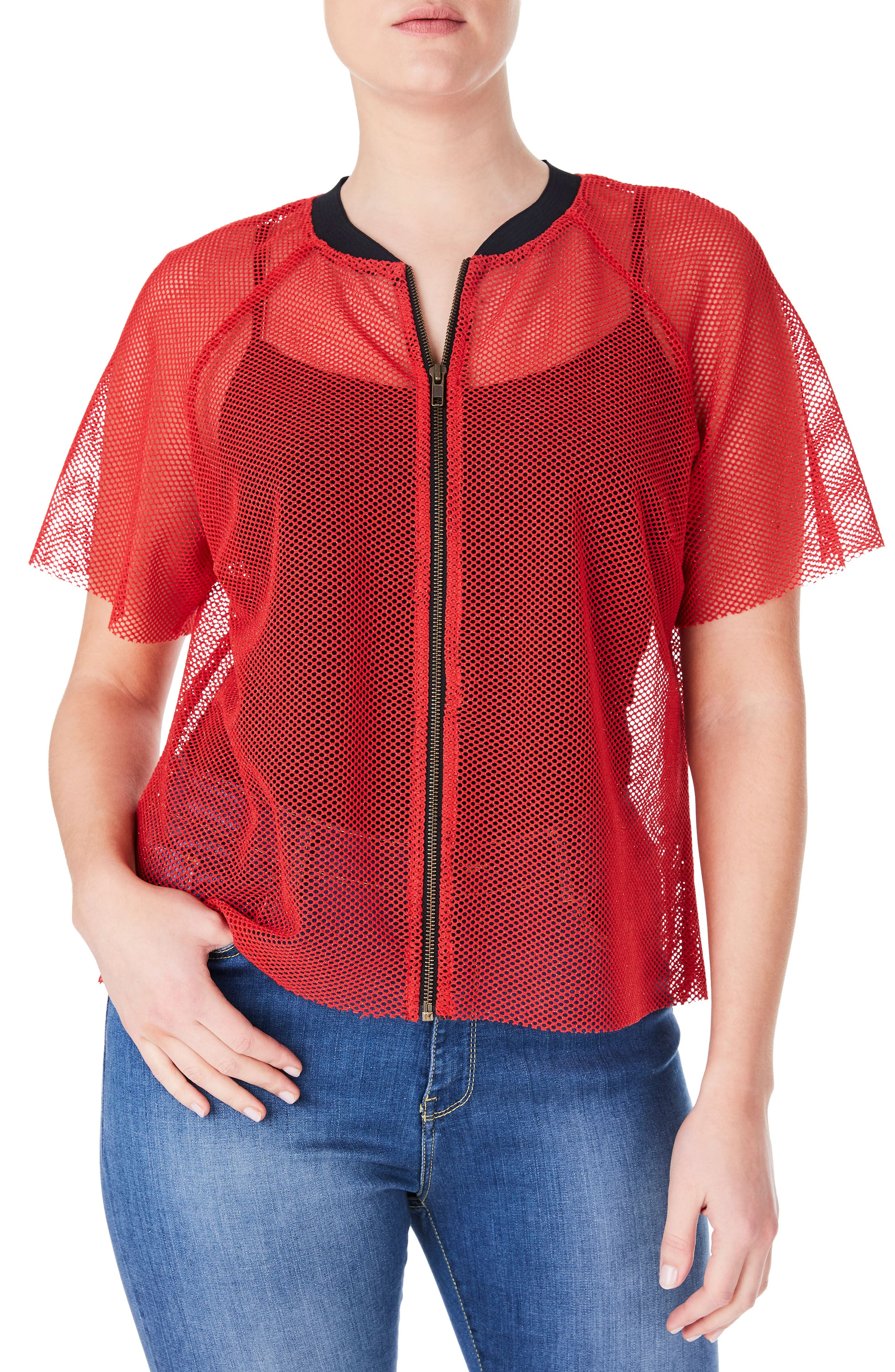 Fishnet Zip Front Top,                         Main,                         color, Red