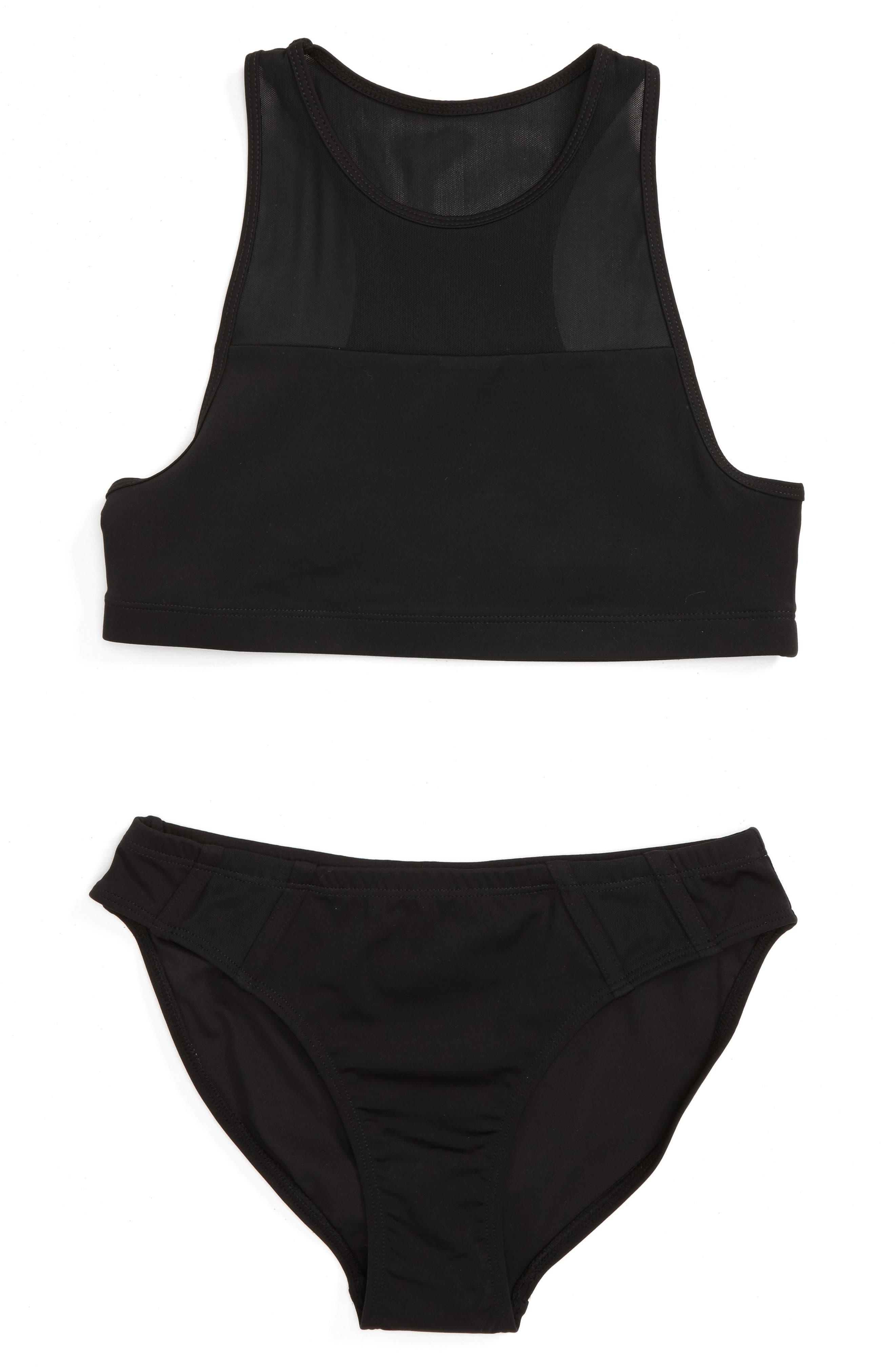 Mesh Trim Two-Piece Swimsuit,                         Main,                         color, Black