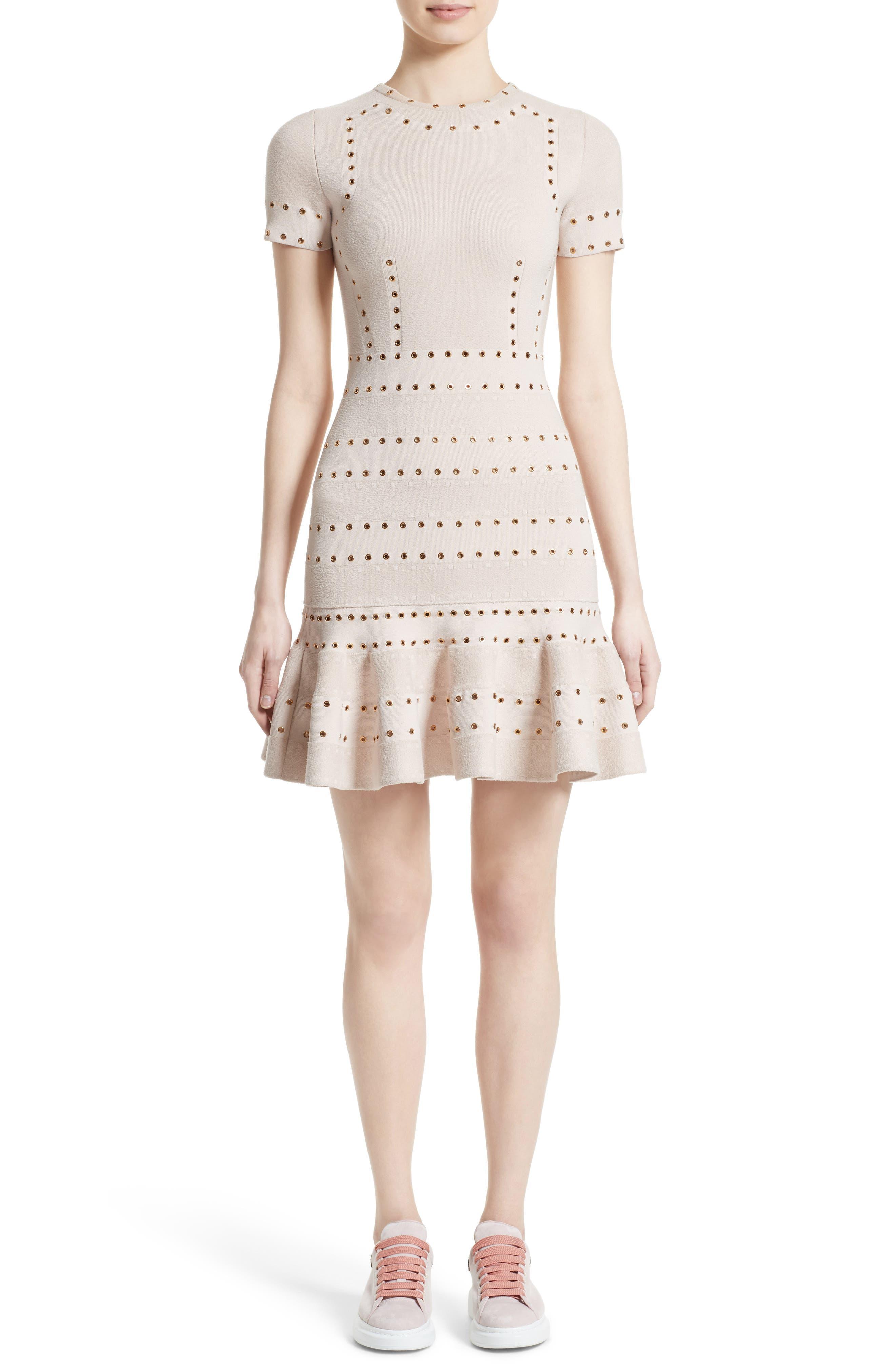 Alternate Image 1 Selected - Alexander McQueen Eyelet Detail Knit Dress