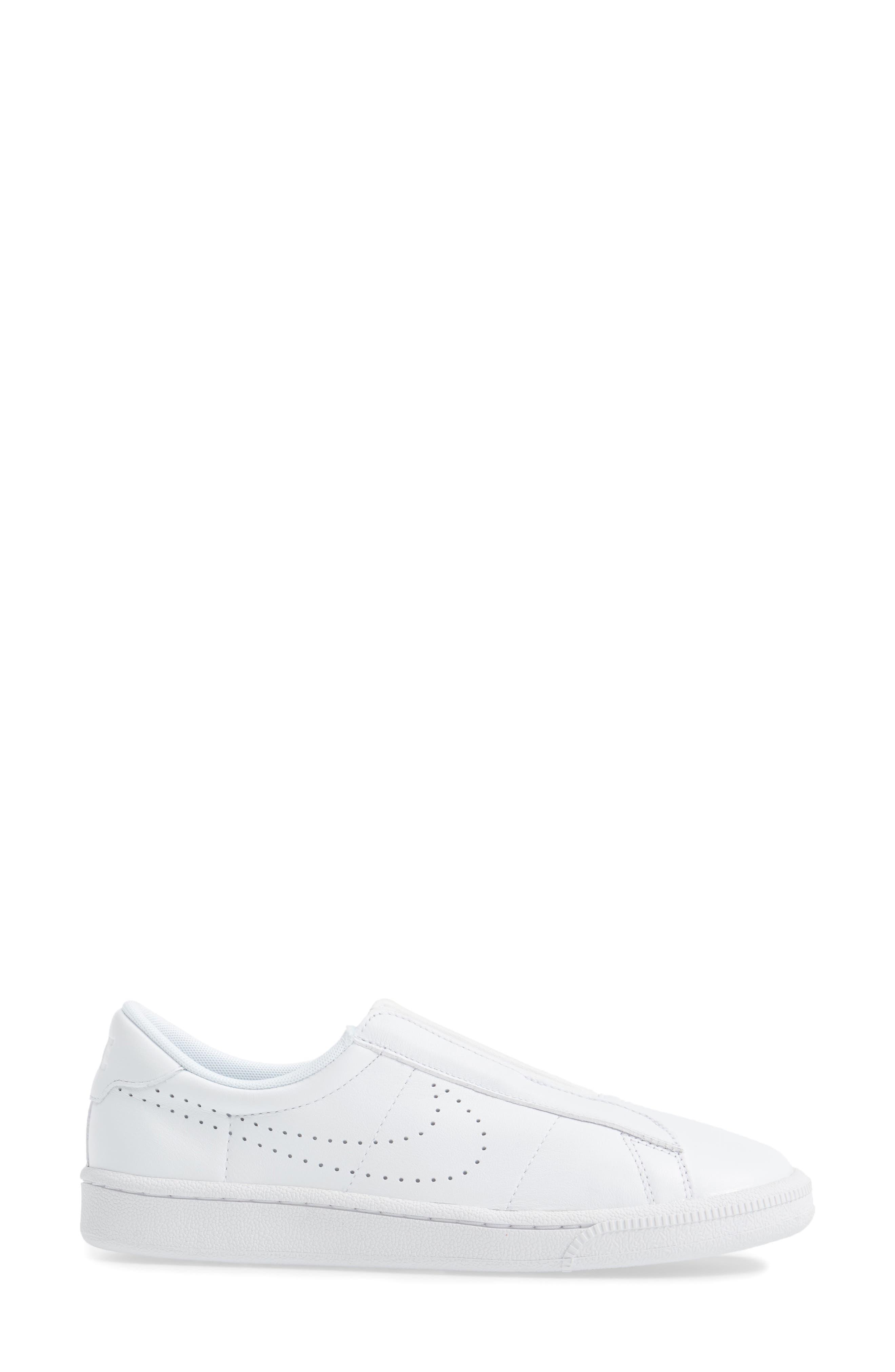 Classic EZ Slip-On Tennis Shoe,                             Alternate thumbnail 3, color,                             White/ White/ Black