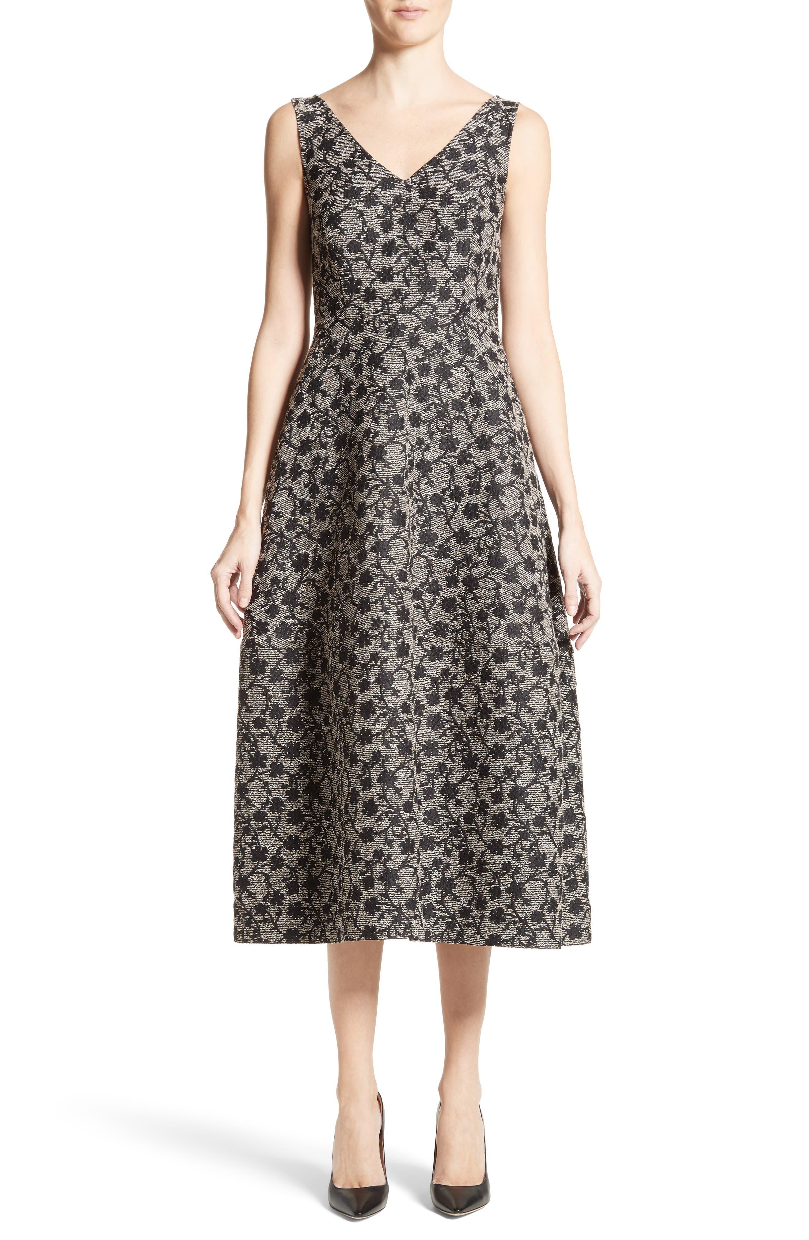 Floral Jacquard Midi Dress,                             Main thumbnail 1, color,                             Black/ Gold