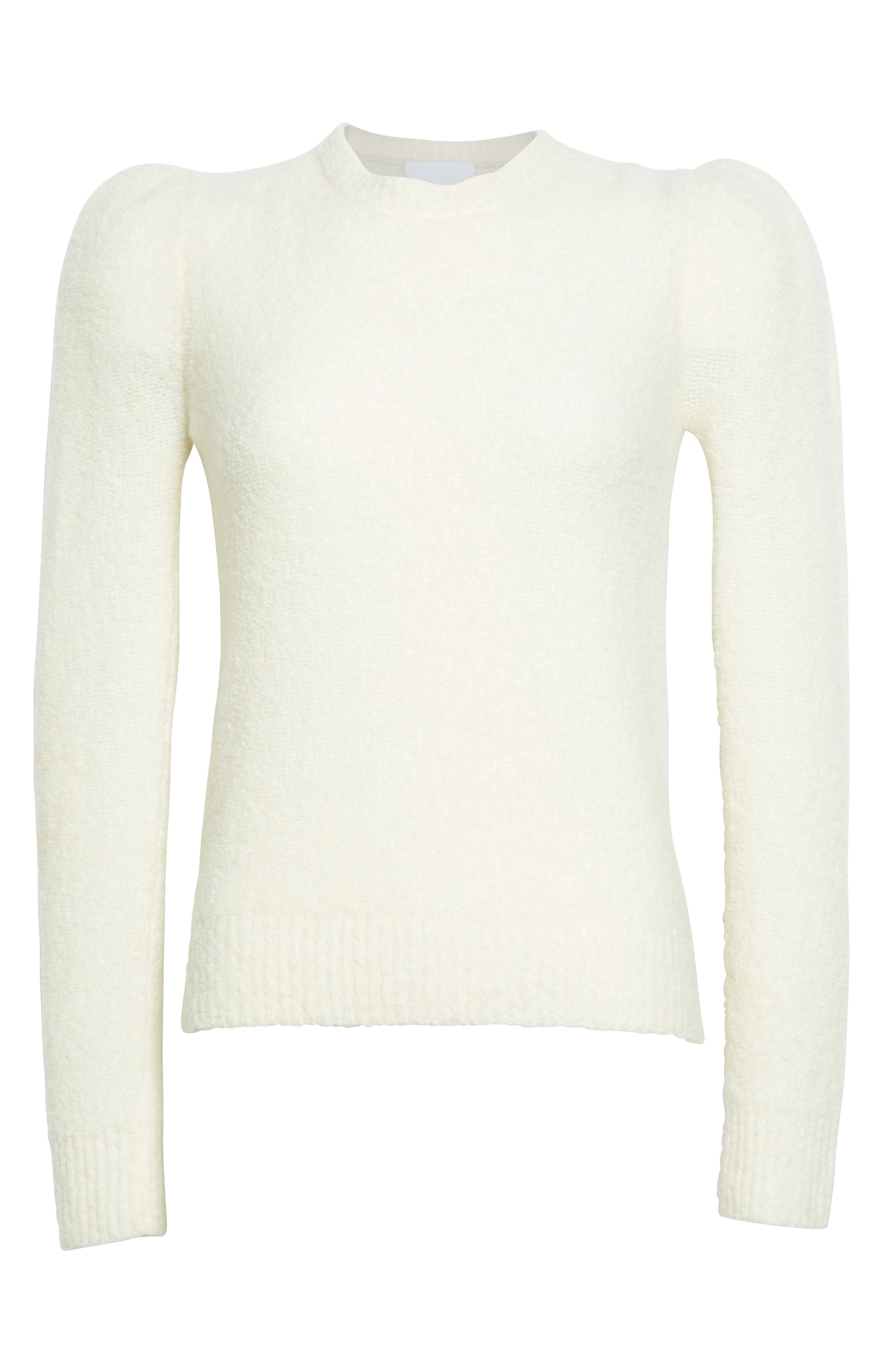 Puff Sleeve Cashmere Blend Sweater,                             Alternate thumbnail 4, color,                             Ivory