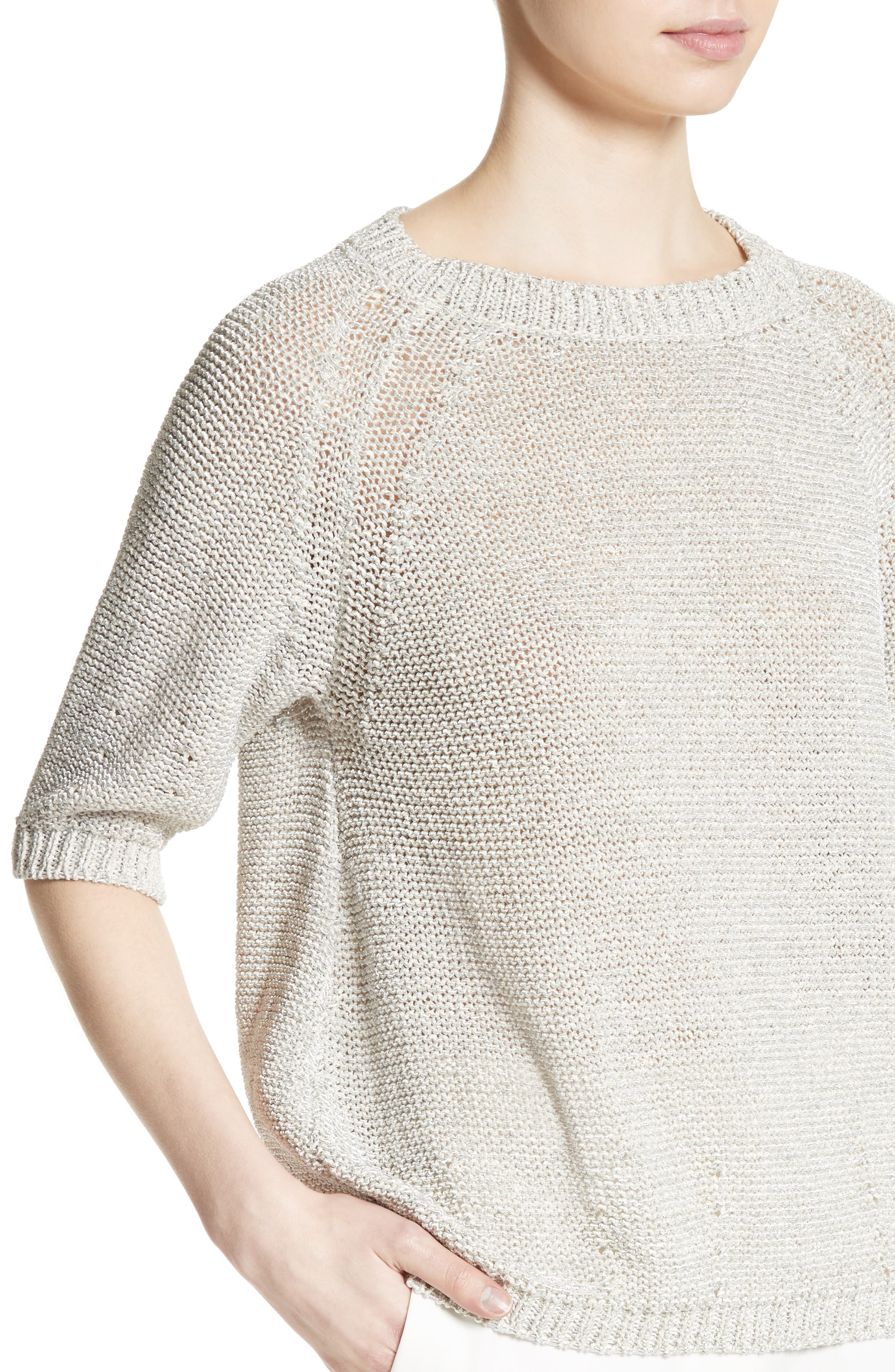Cotton Blend Sweater,                             Alternate thumbnail 6, color,                             White