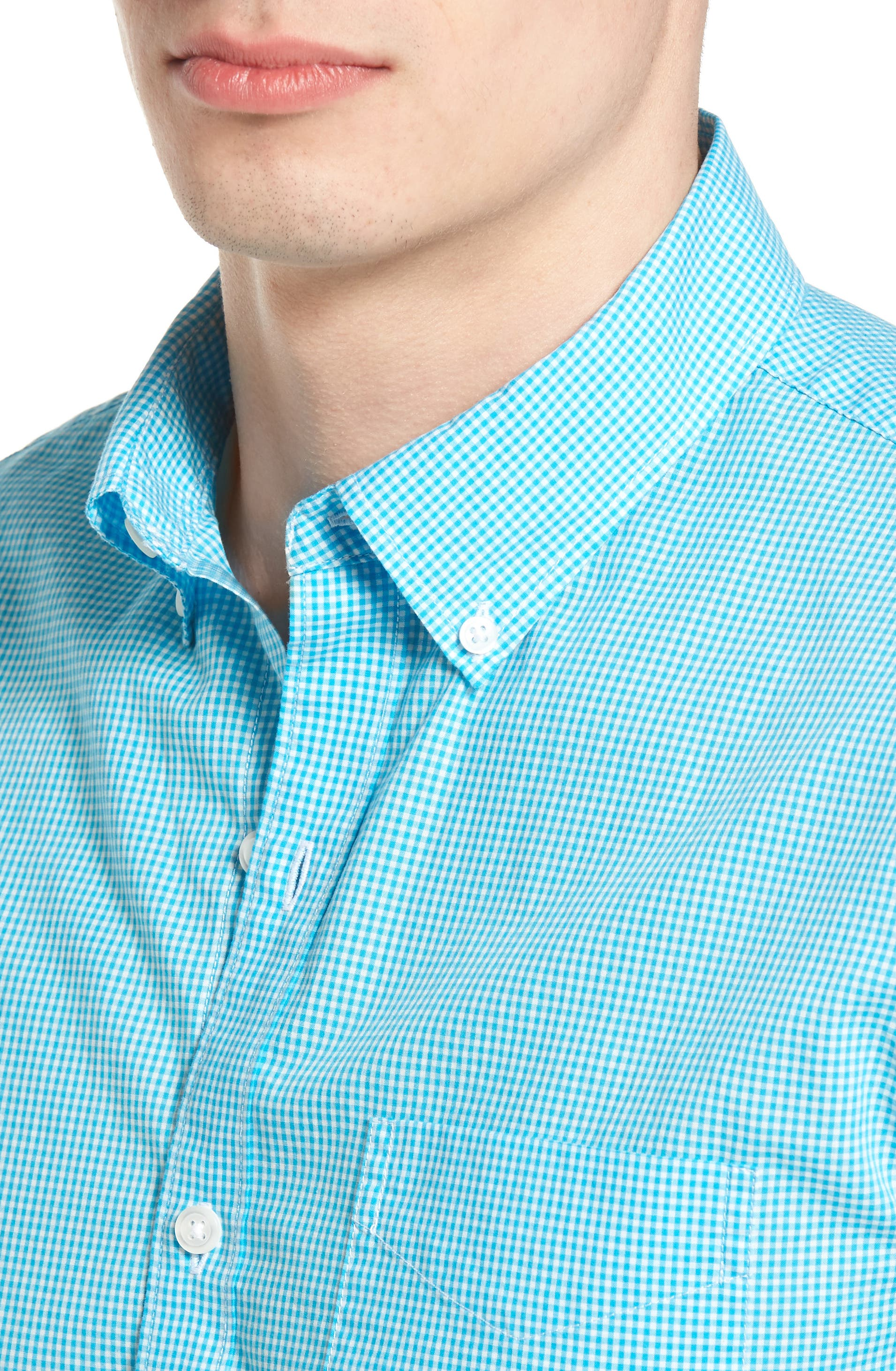 Summerweight Slim Fit Sport Shirt,                             Alternate thumbnail 4, color,                             Bonid Gingham Blue