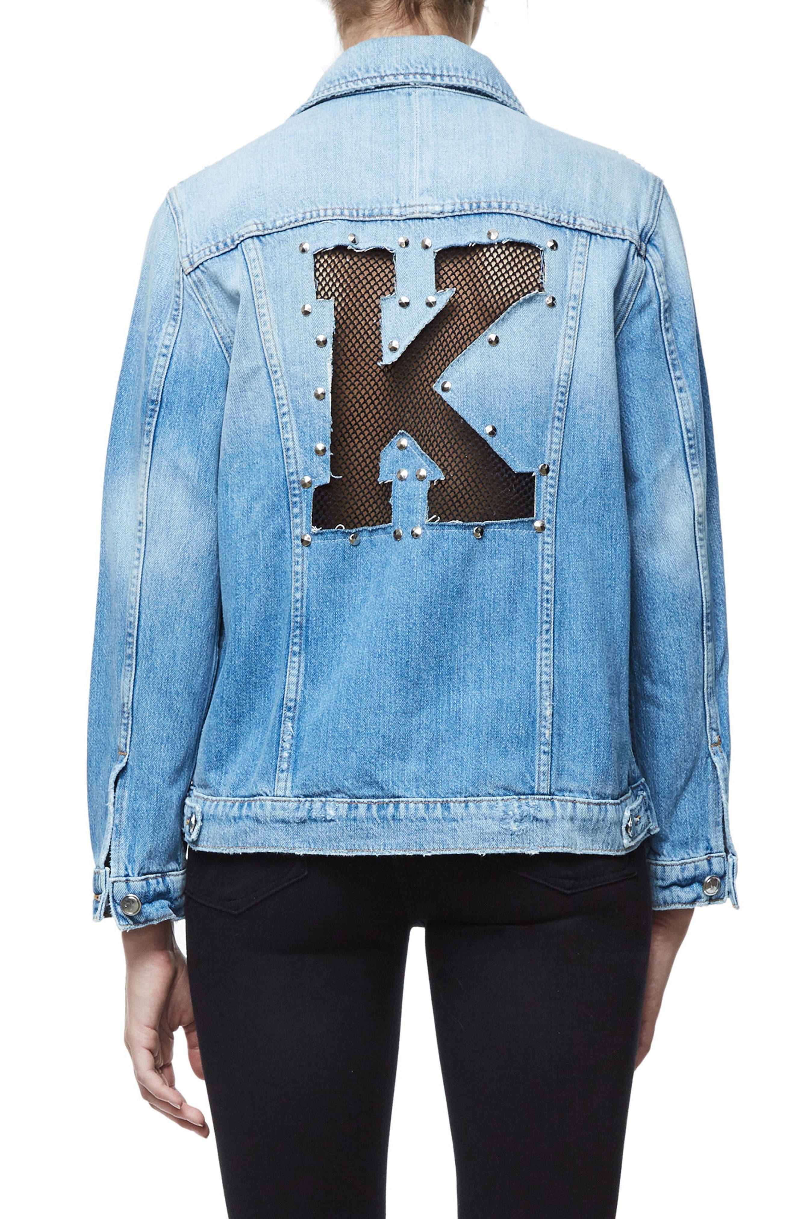 Alternate Image 1 Selected - Good American Mesh Letter Denim Jacket (Extended Sizes)