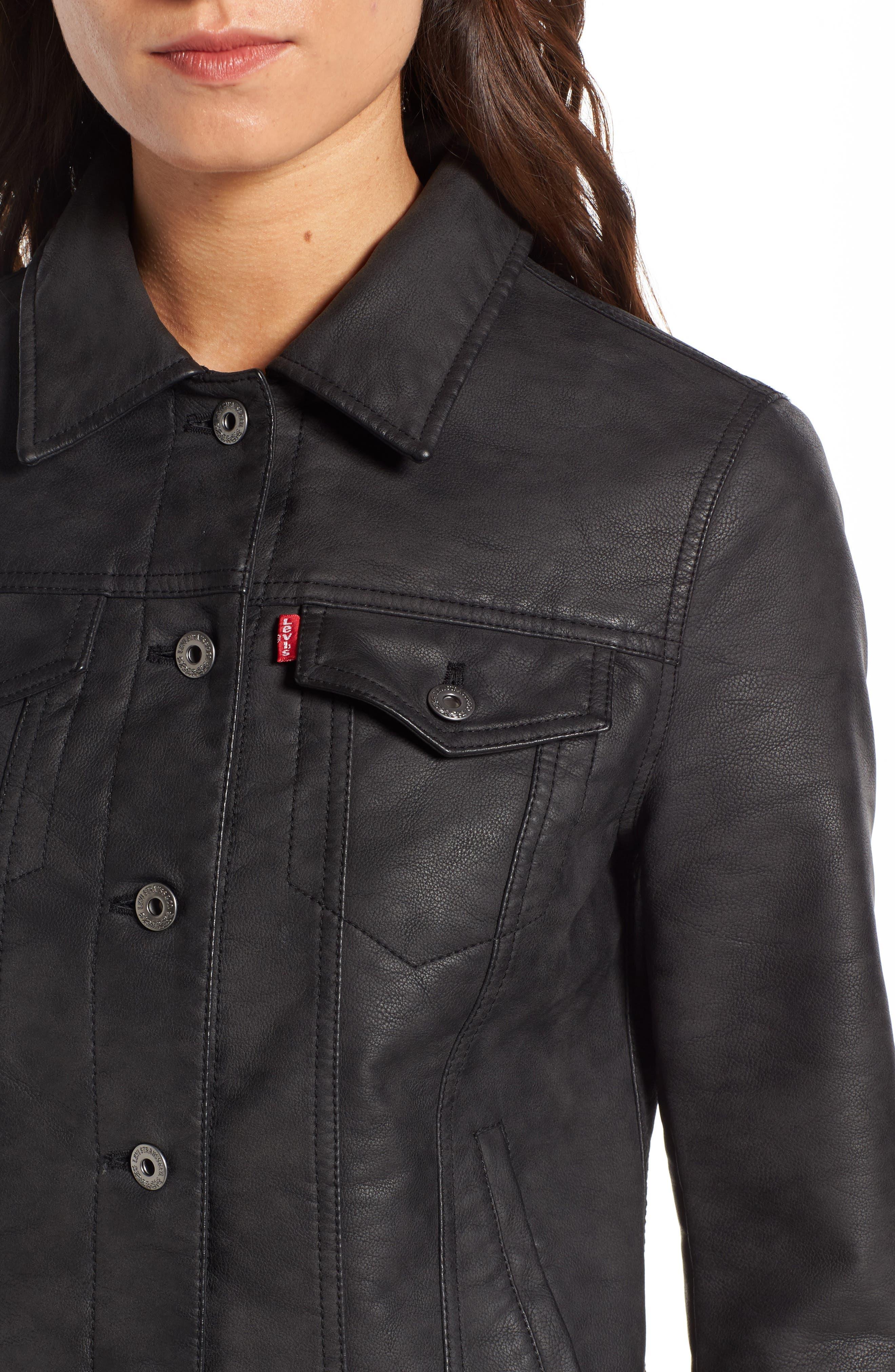 Faux Leather Trucker Jacket,                             Alternate thumbnail 4, color,                             Black
