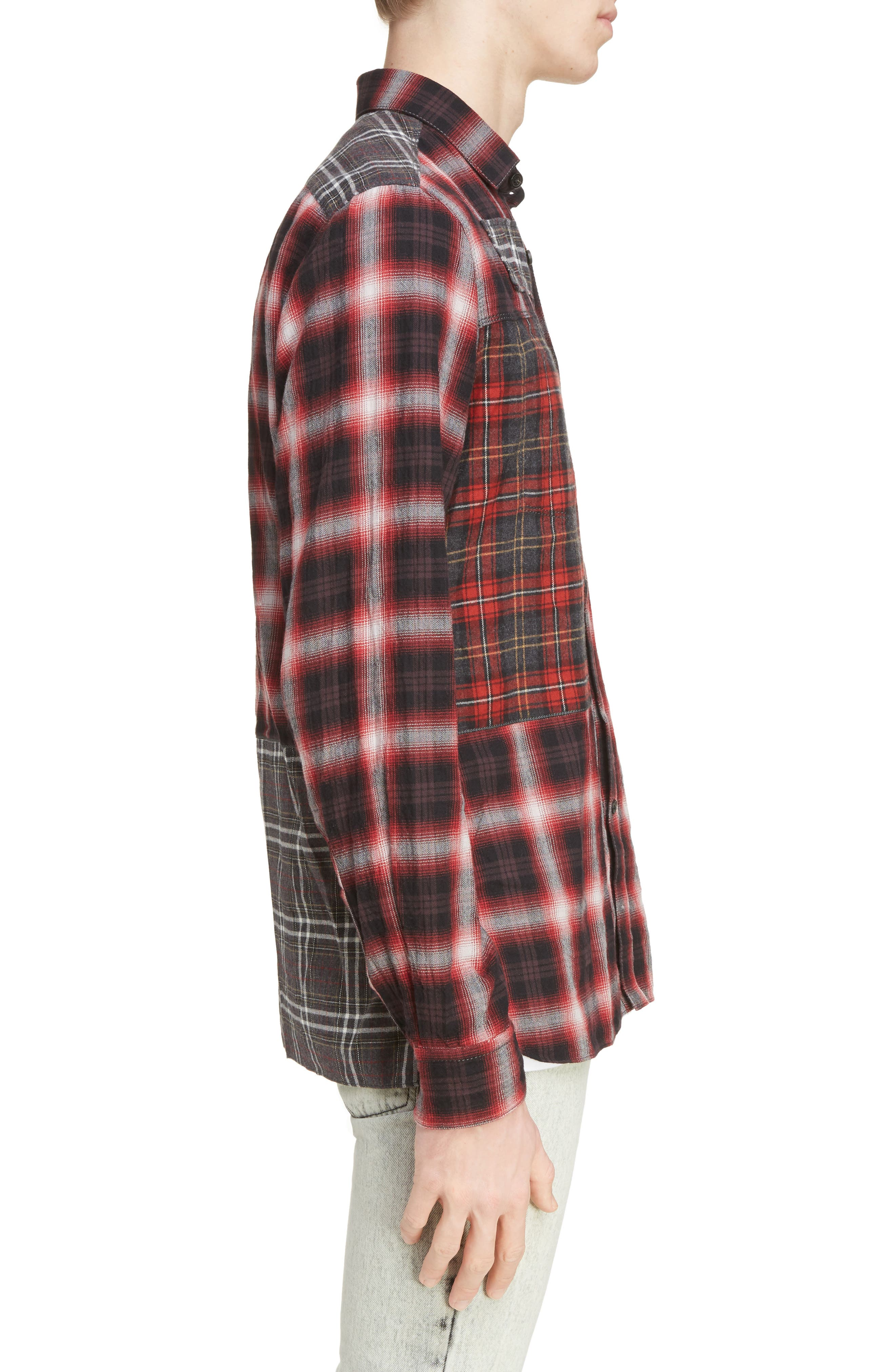Pieced Plaid Flannel Shirt,                             Alternate thumbnail 3, color,                             Grey/ Red