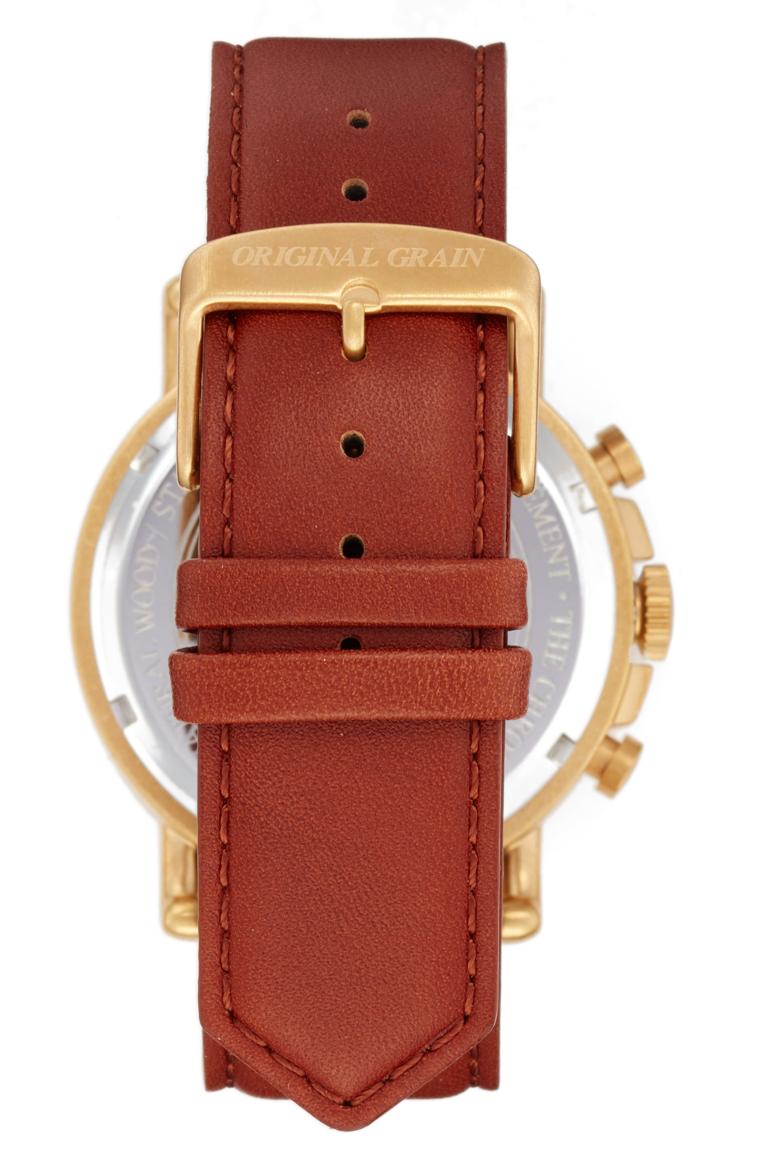 Alternate Image 2  - Original Grain Alterra Chronograph Leather Strap Watch, 44mm