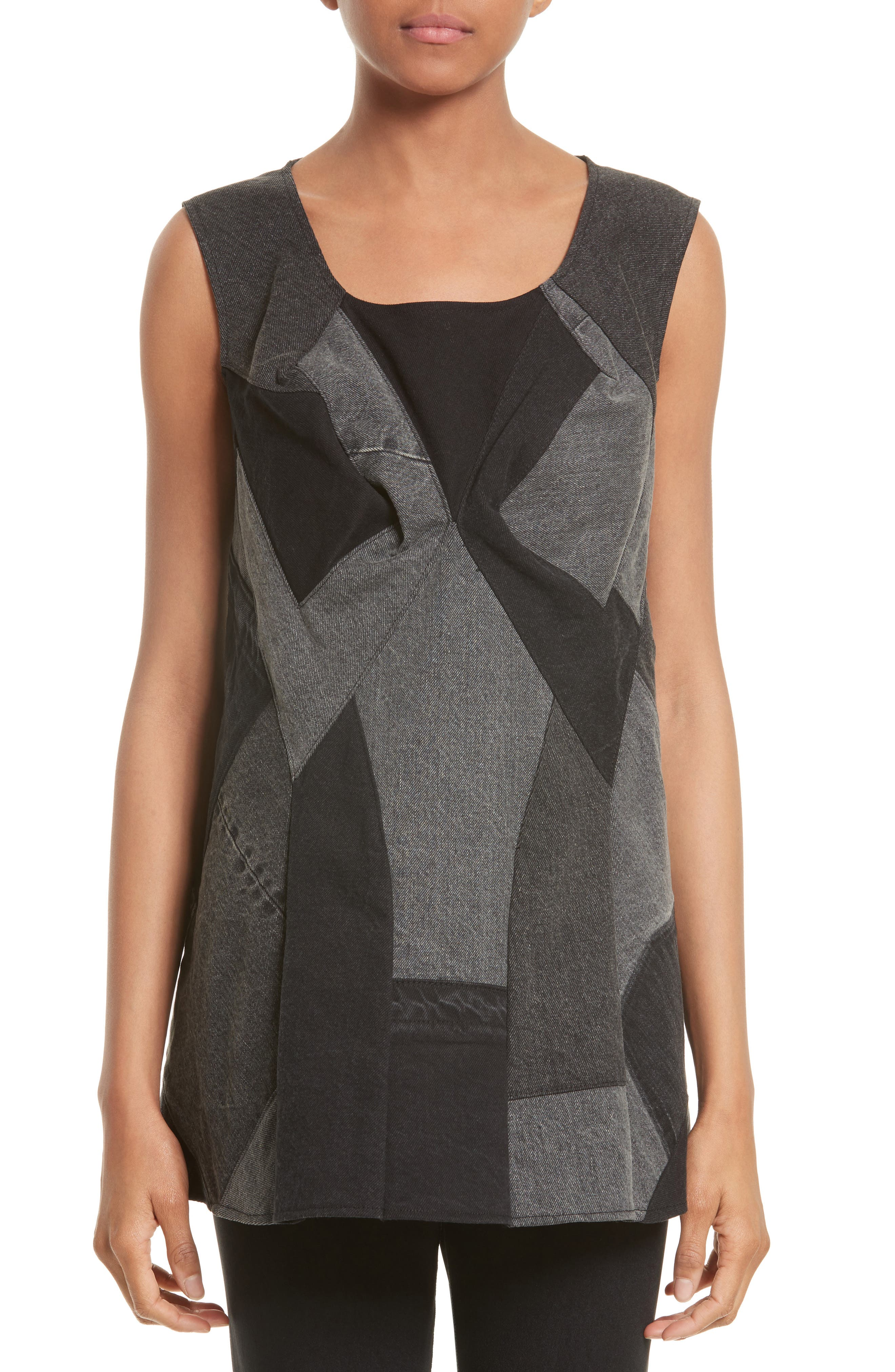Patchwork Denim Tunic,                         Main,                         color, Black