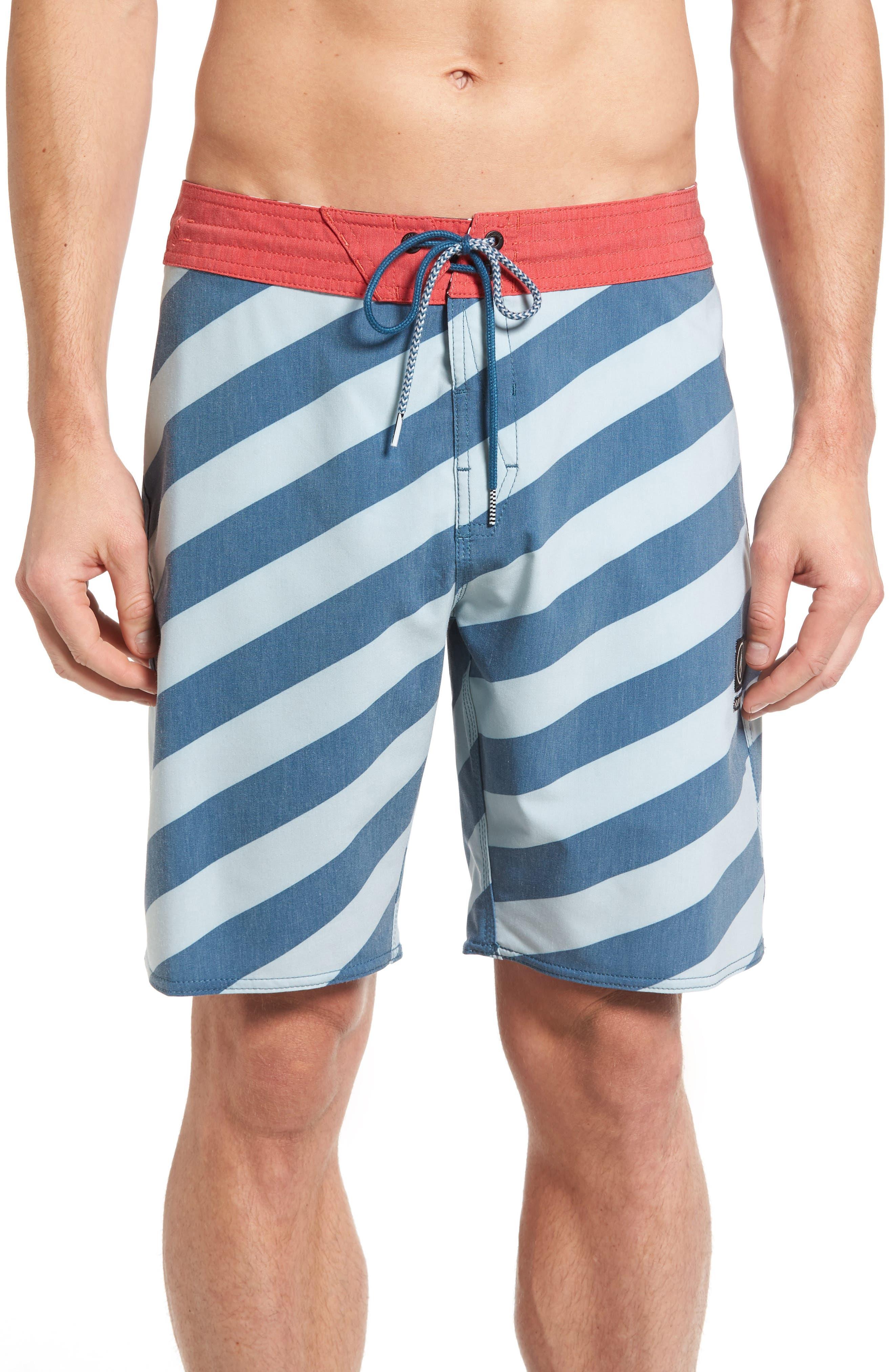 Stripey Slinger Board Shorts,                             Main thumbnail 1, color,                             Flight Blue