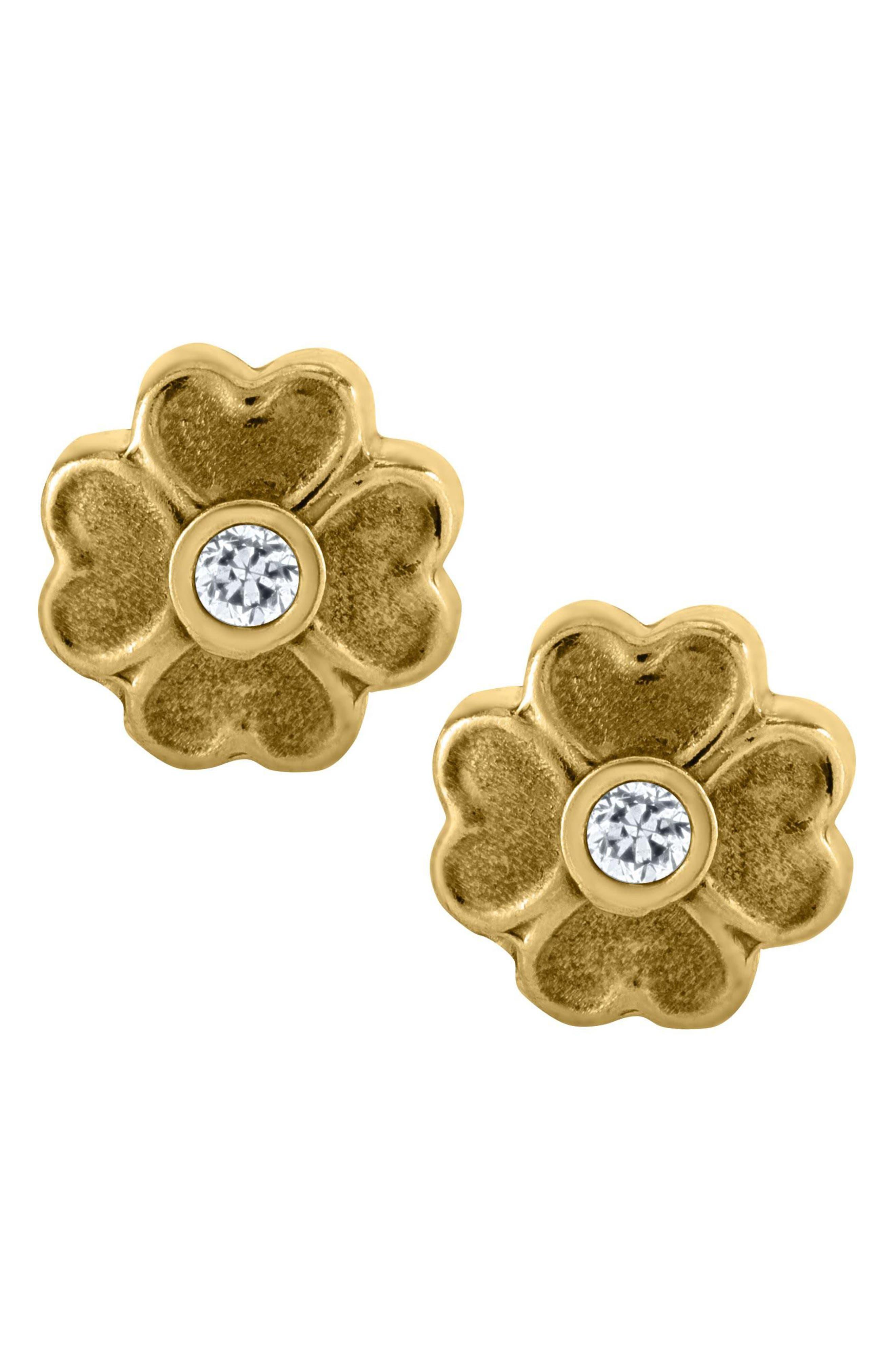 14k Gold Flower Earrings,                         Main,                         color, Gold