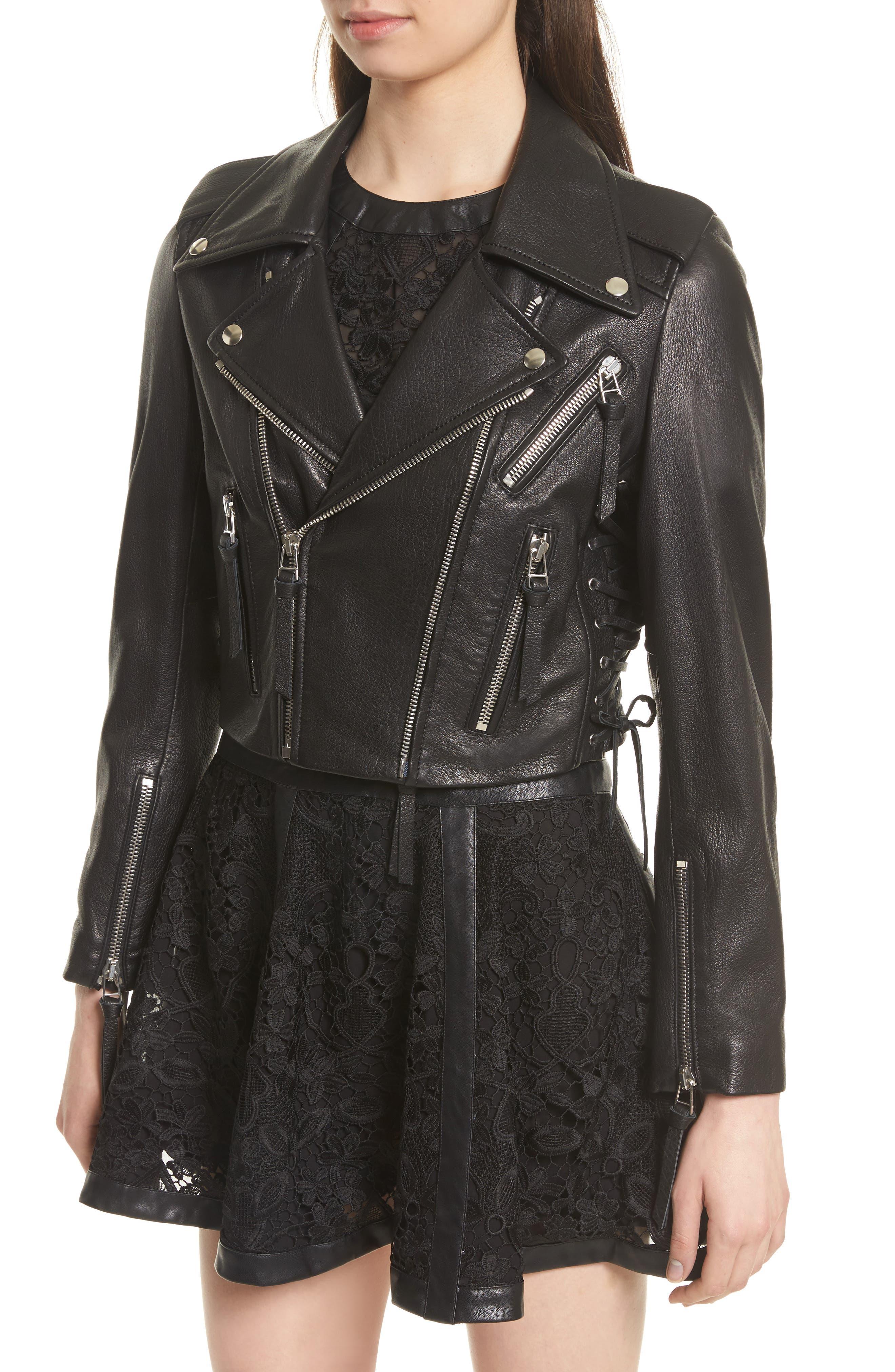 Lace-Up Lambskin Leather Jacket,                             Alternate thumbnail 5, color,                             Black