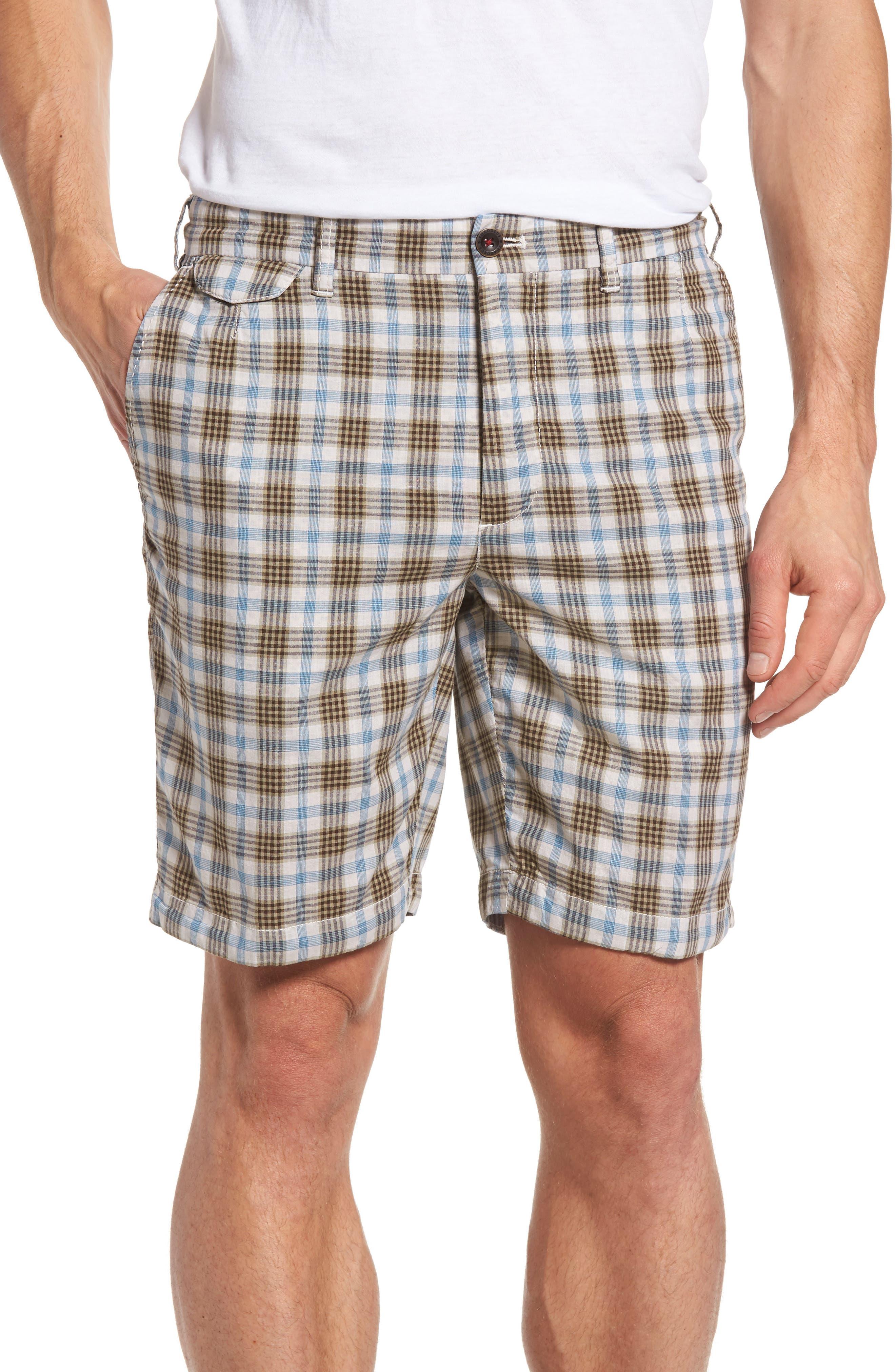 Thaddeus Singer Plaid Flat Front Shorts