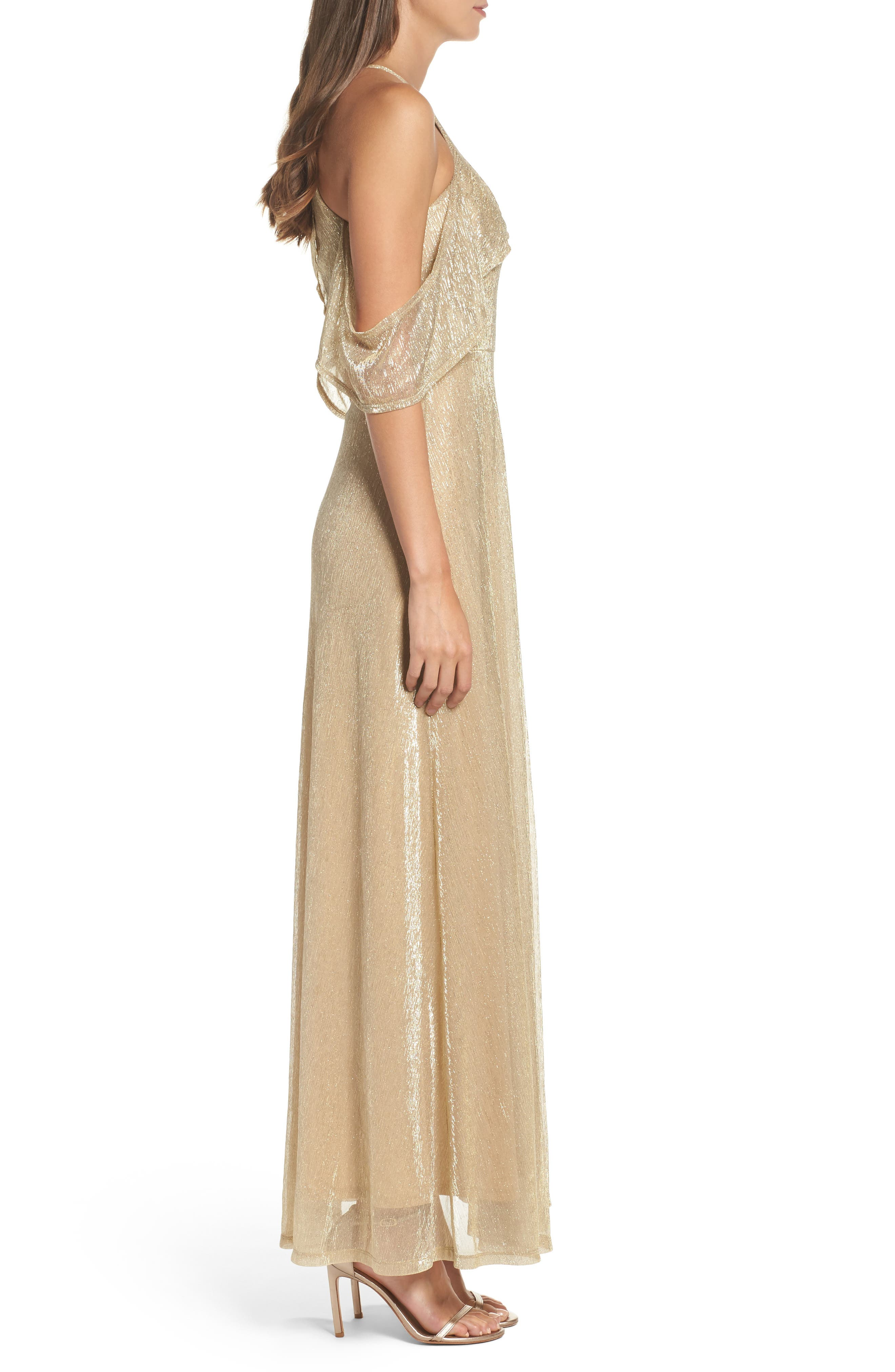 Cold Shoulder Gown,                             Alternate thumbnail 3, color,                             Gold