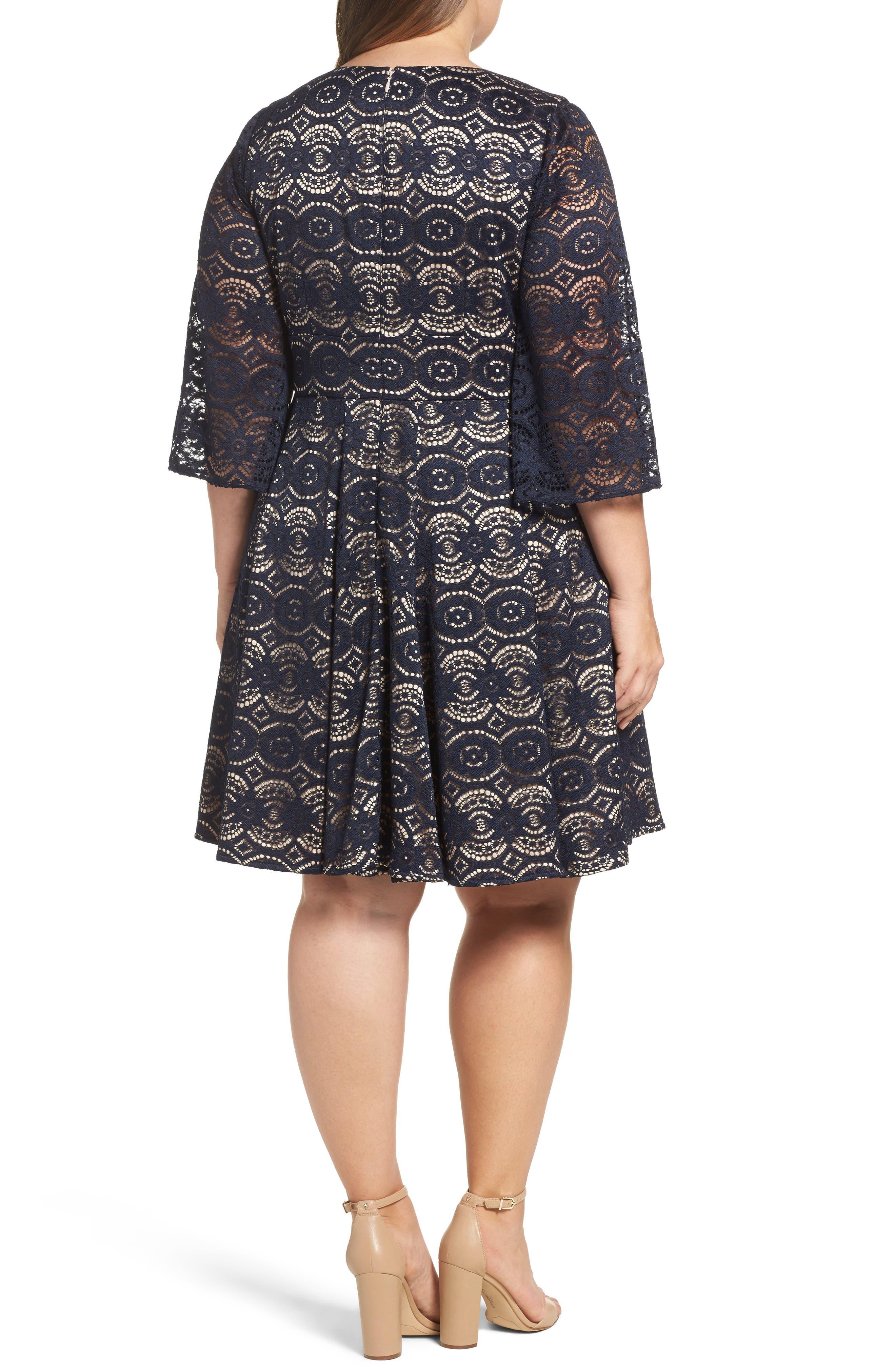 Alternate Image 2  - Eliza J Bell Sleeve Lace Fit & Flare Dress (Plus Size)