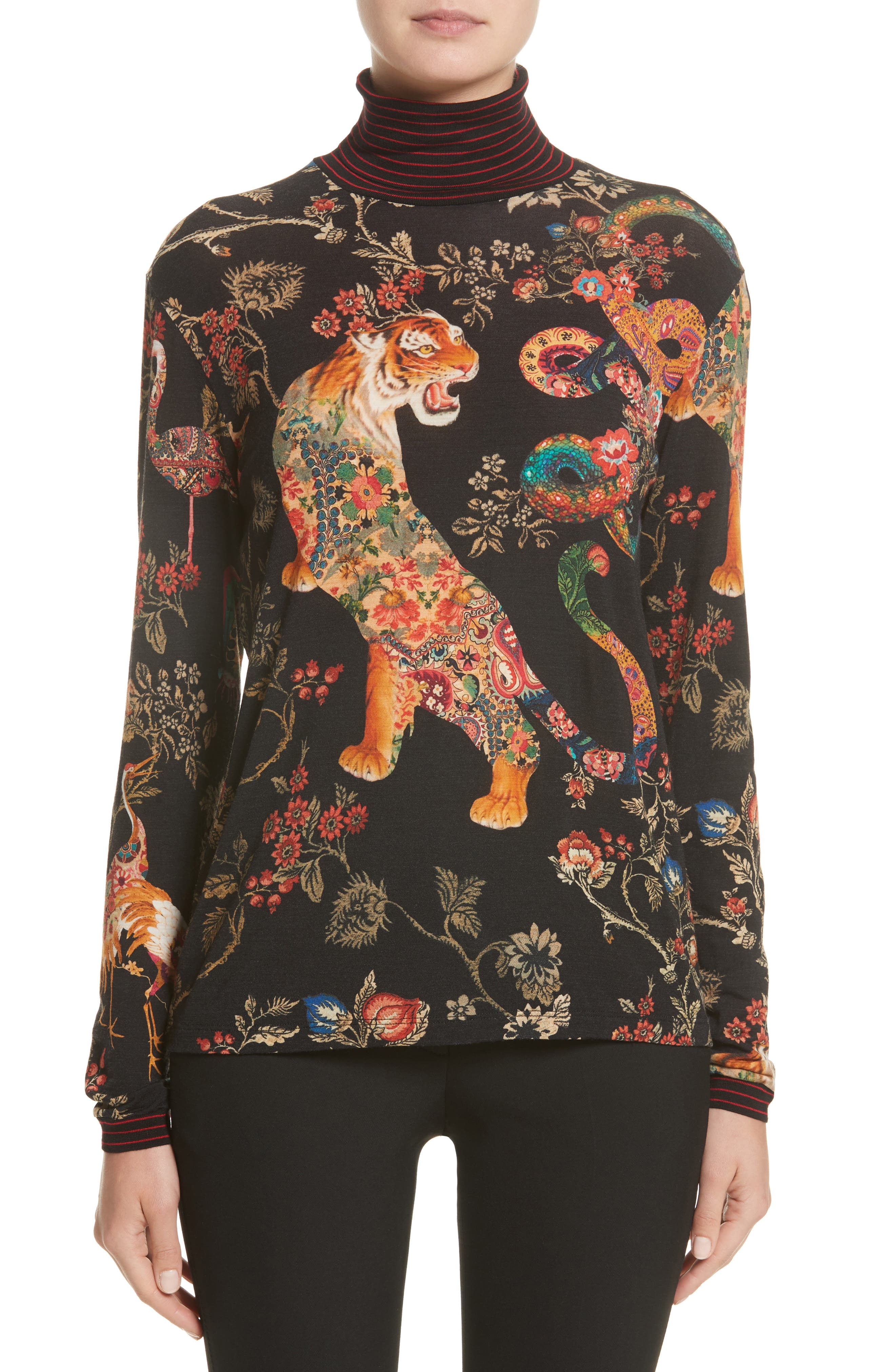 Tiger Print Mock Neck Sweater,                         Main,                         color, Black