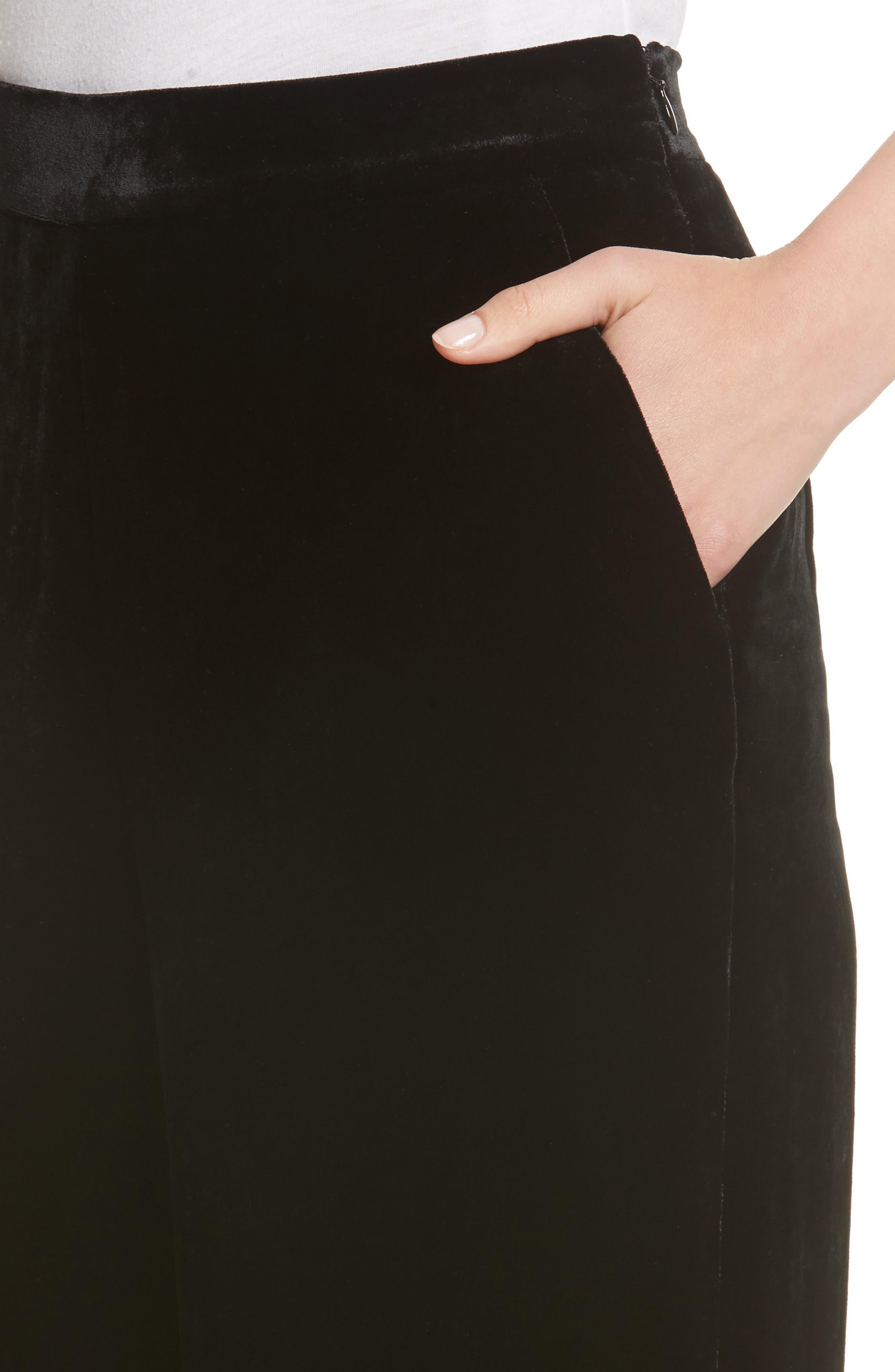 Velvet Wide Leg Pants,                             Alternate thumbnail 4, color,                             Black