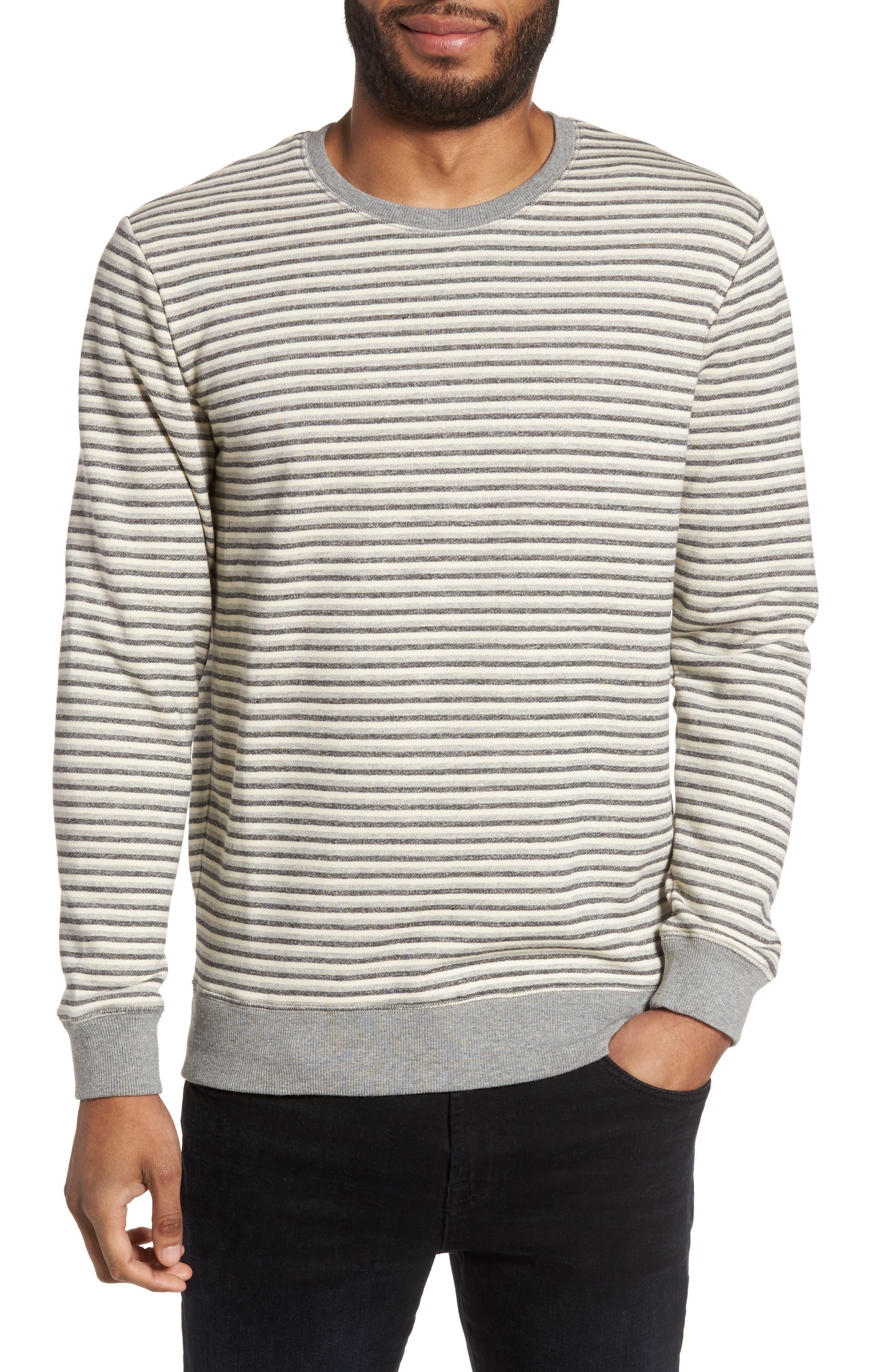 Stripe Crewneck Sweatshirt,                         Main,                         color, Grey Mixed Stripe