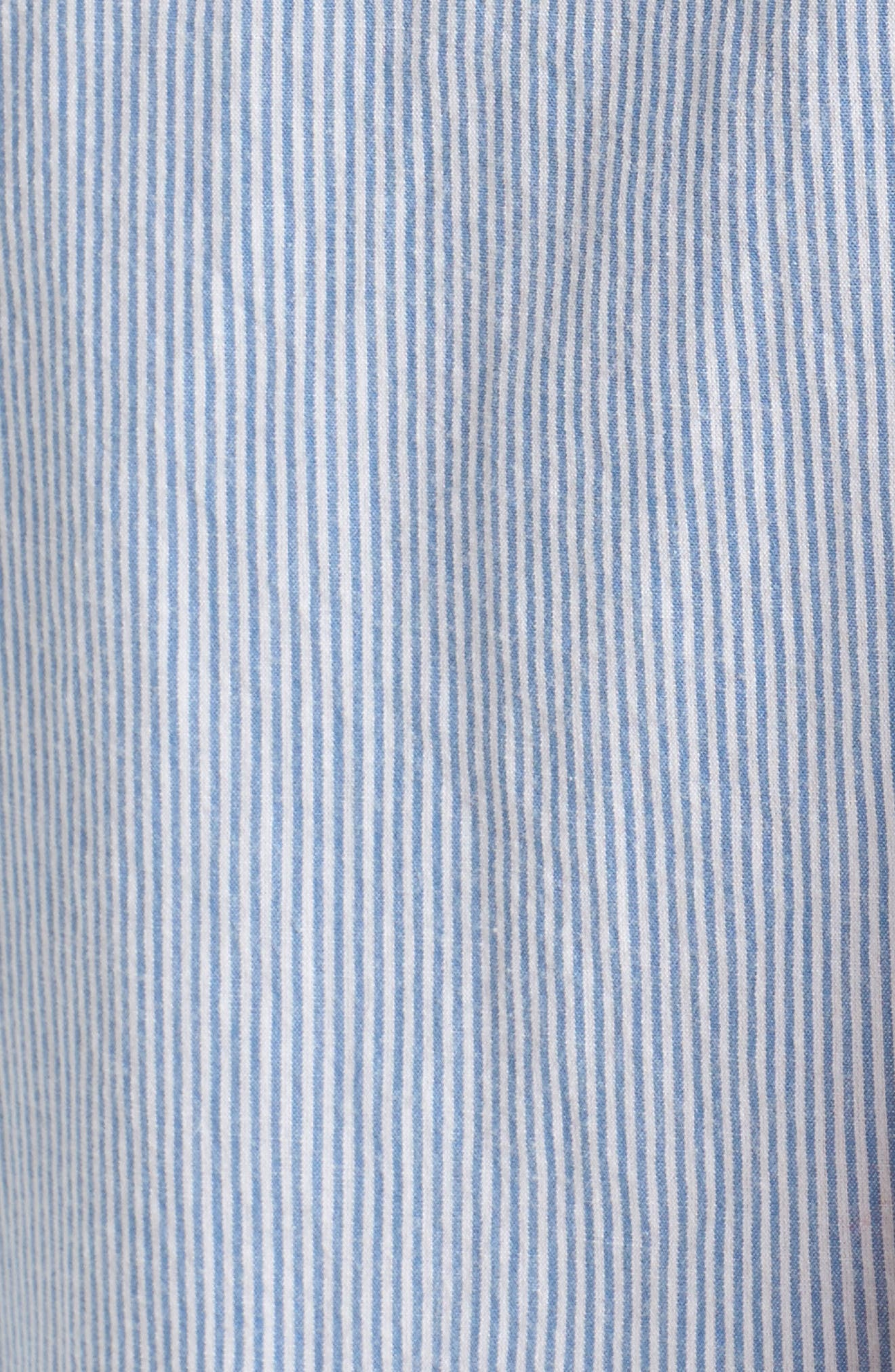 Tie Sleeve Blouse,                             Alternate thumbnail 5, color,                             Blue Tw Jny Stp