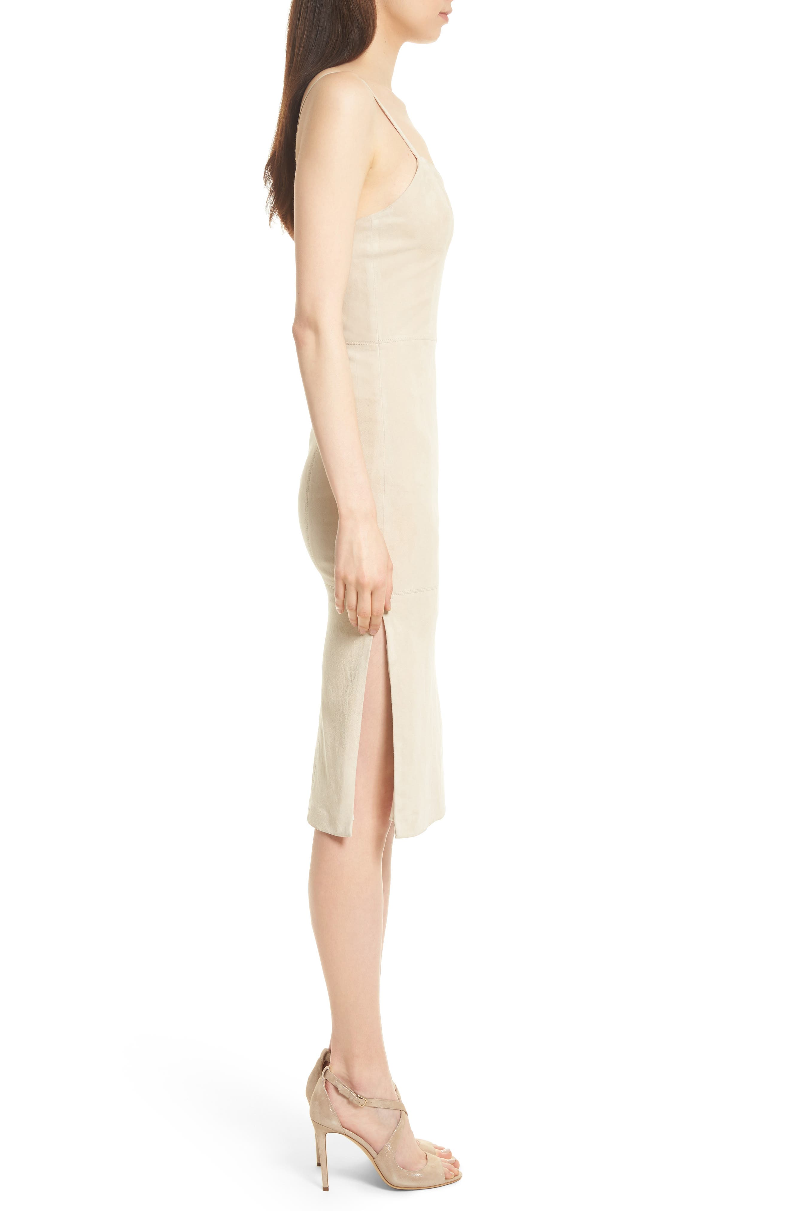 Rochell Suede Sheath Dress,                             Alternate thumbnail 3, color,                             Champagne