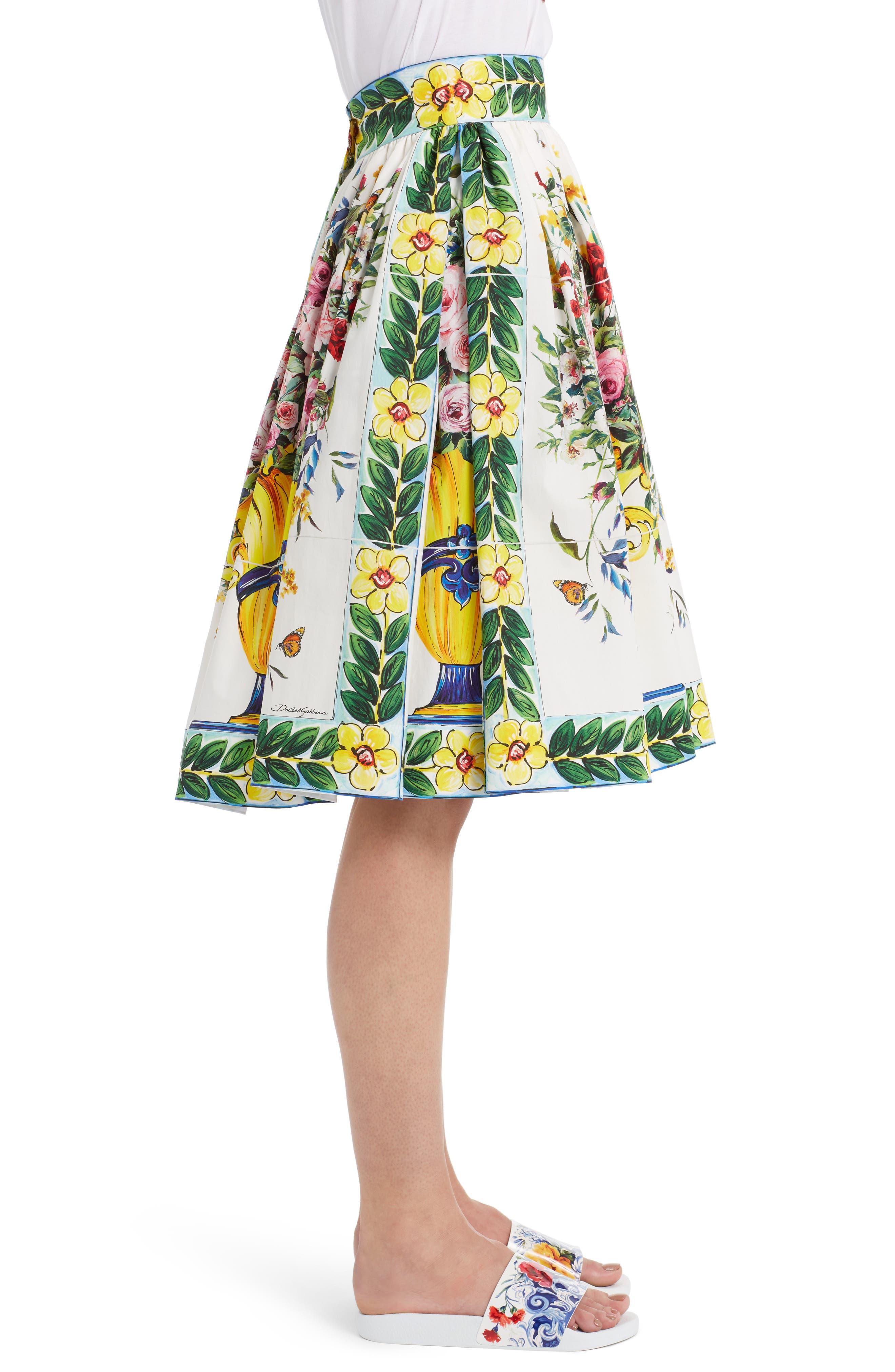 Pleated Cotton Poplin Skirt,                             Alternate thumbnail 4, color,                             Maioliche Prnt