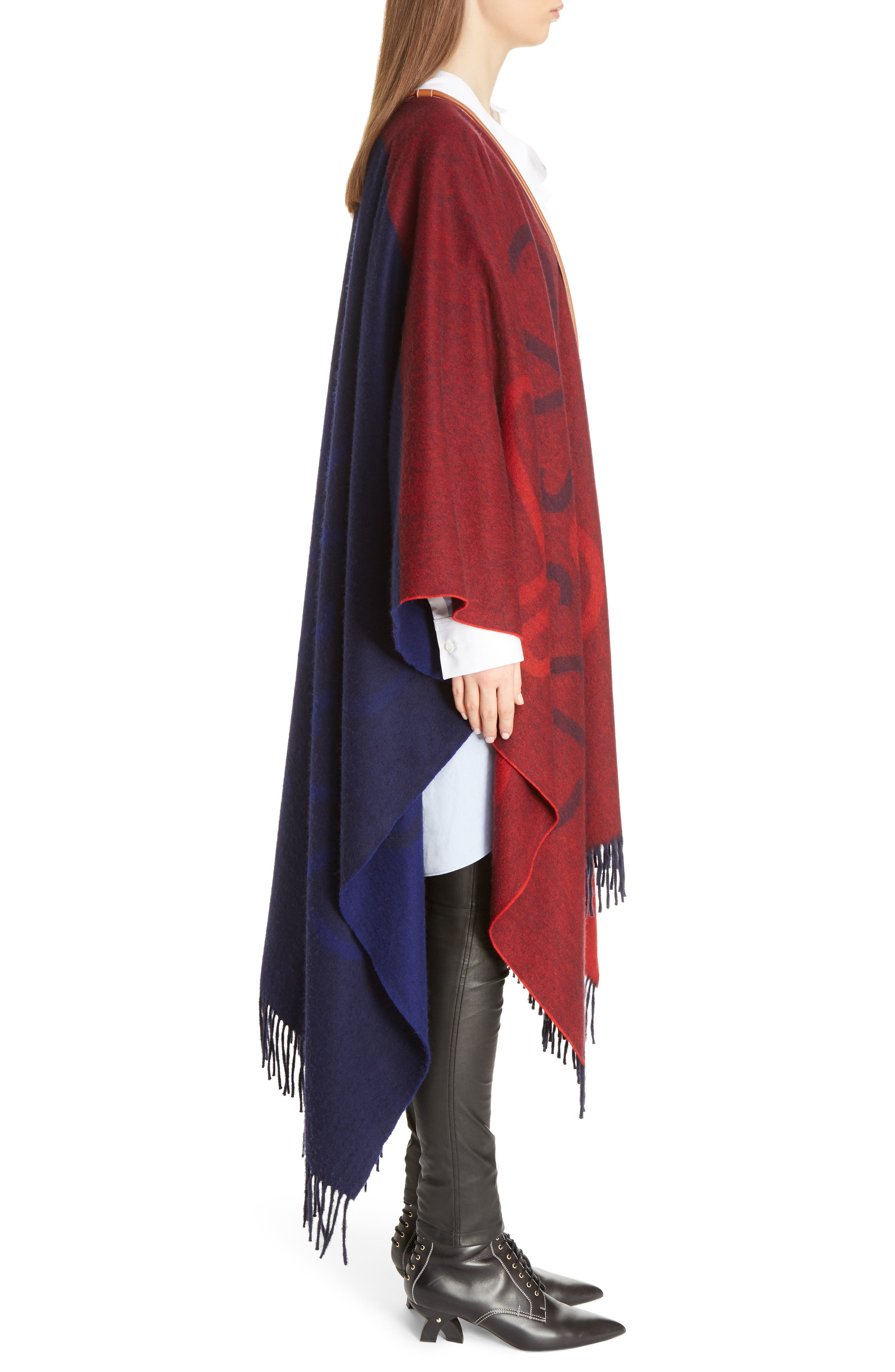 Logo Wool & Cashmere Blanket Cape,                             Alternate thumbnail 4, color,                             Red/ Navy