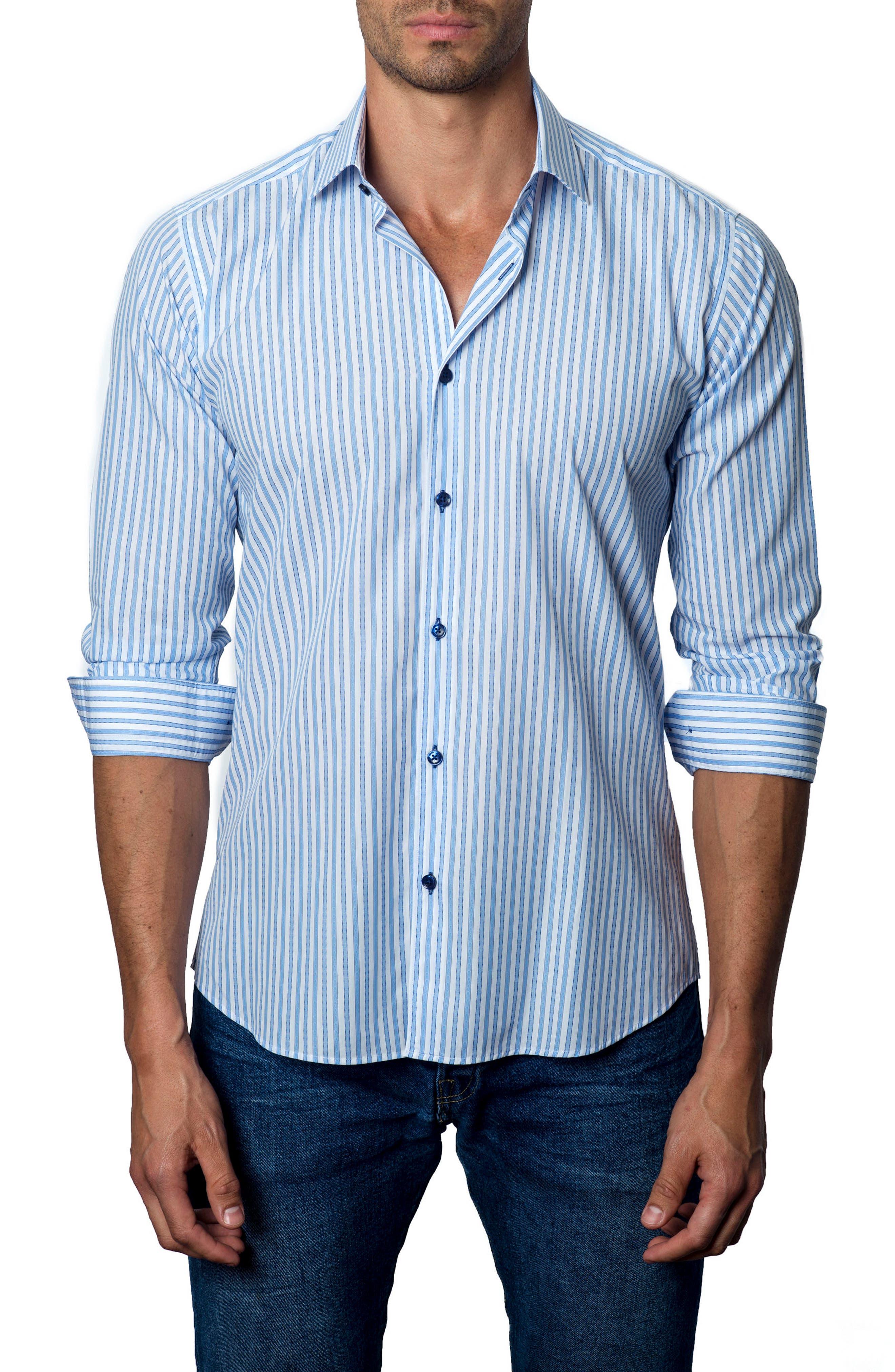 Trim Fit Stripe Sport Shirt,                         Main,                         color, Light Blue / White Stripe