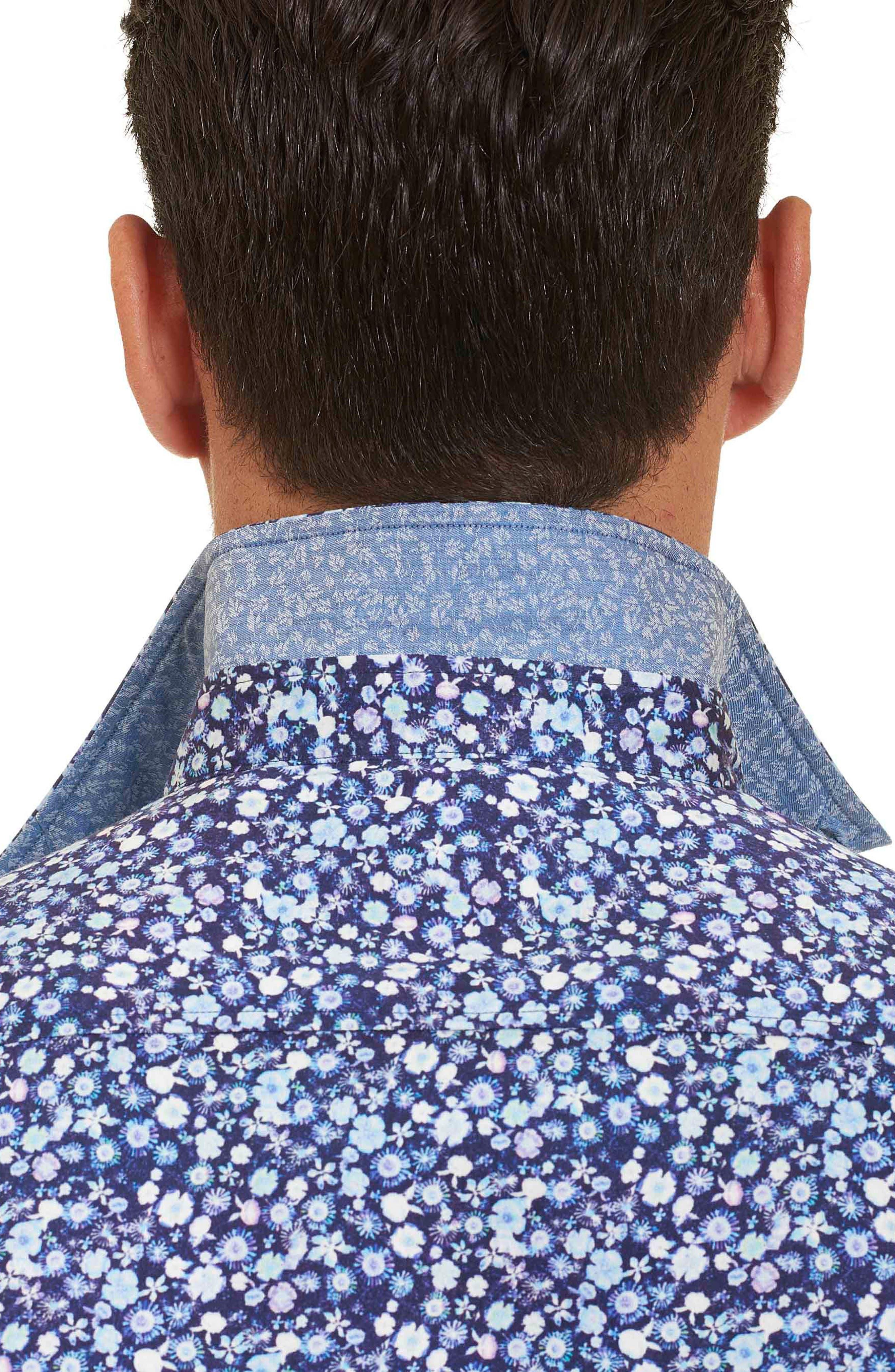 Bronson Tailored Fit Print Short Sleeve Sport Shirt,                             Alternate thumbnail 5, color,                             Blue