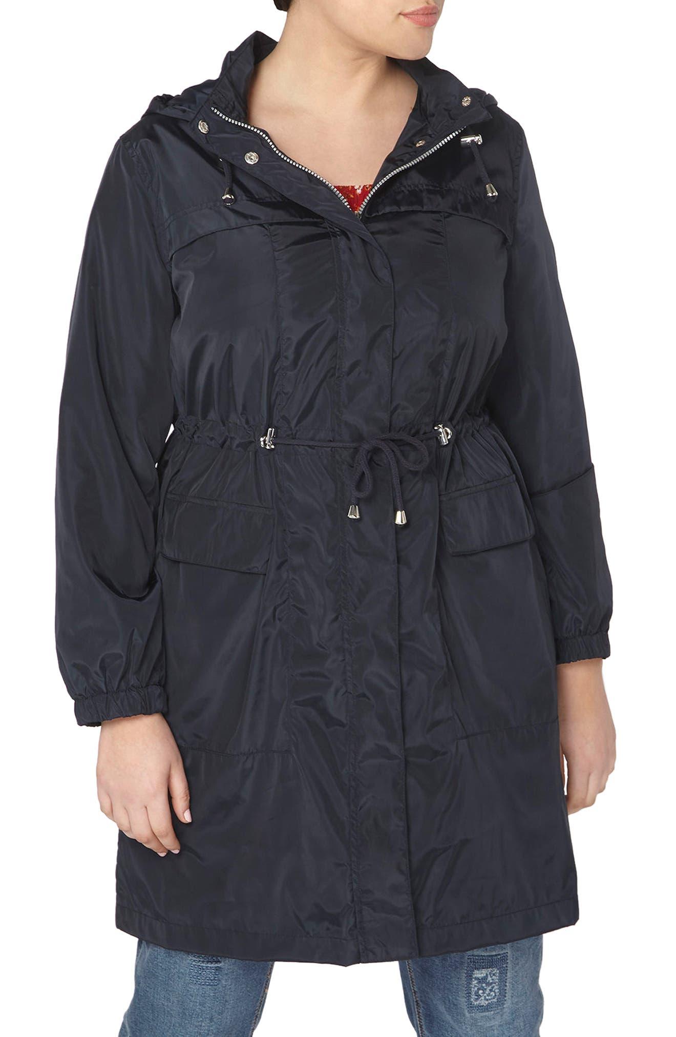 Evans Longline Hooded Raincoat (Plus Size)