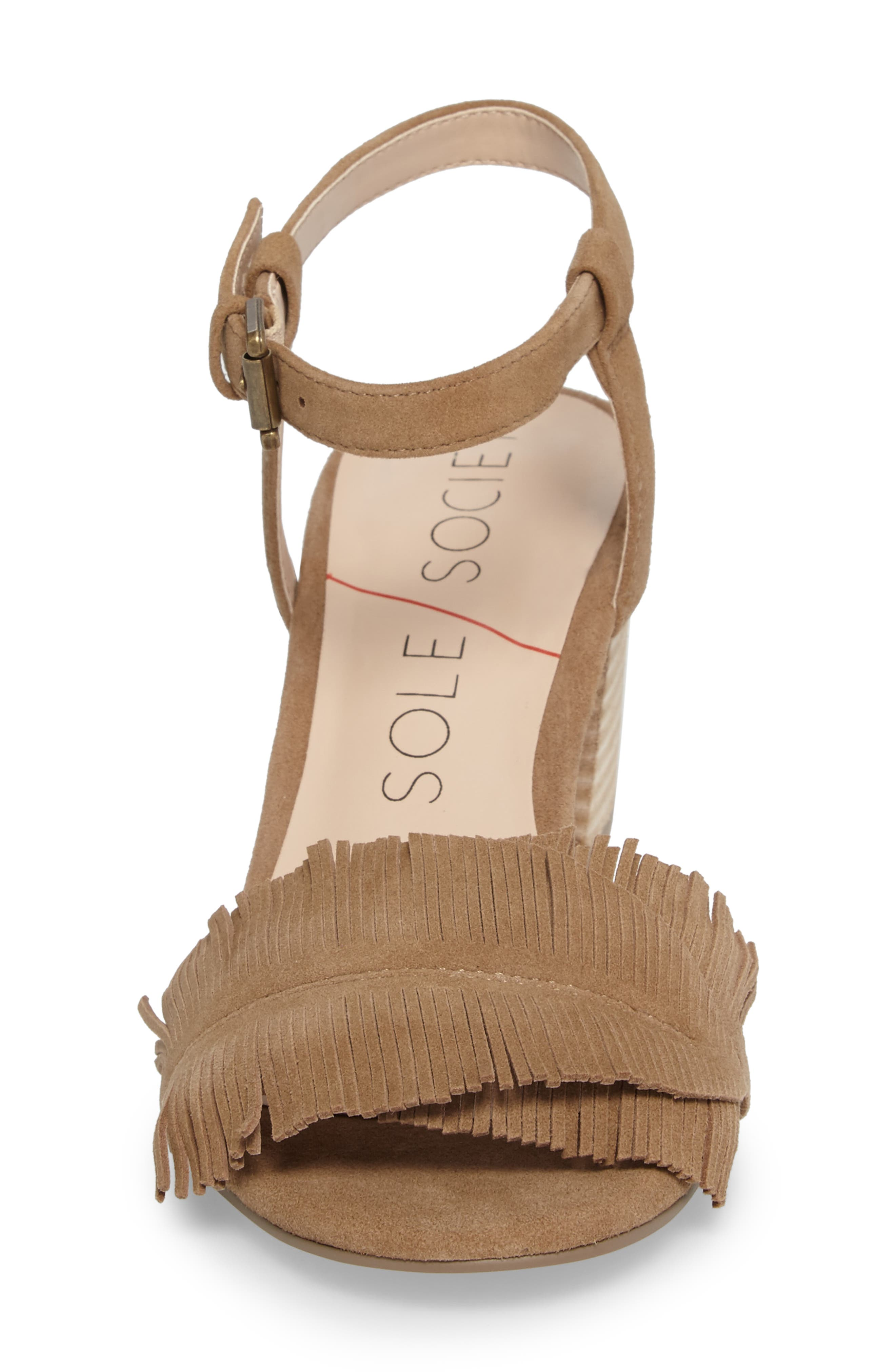 Sepia Fringe Sandal,                             Alternate thumbnail 4, color,                             Coffee Suede